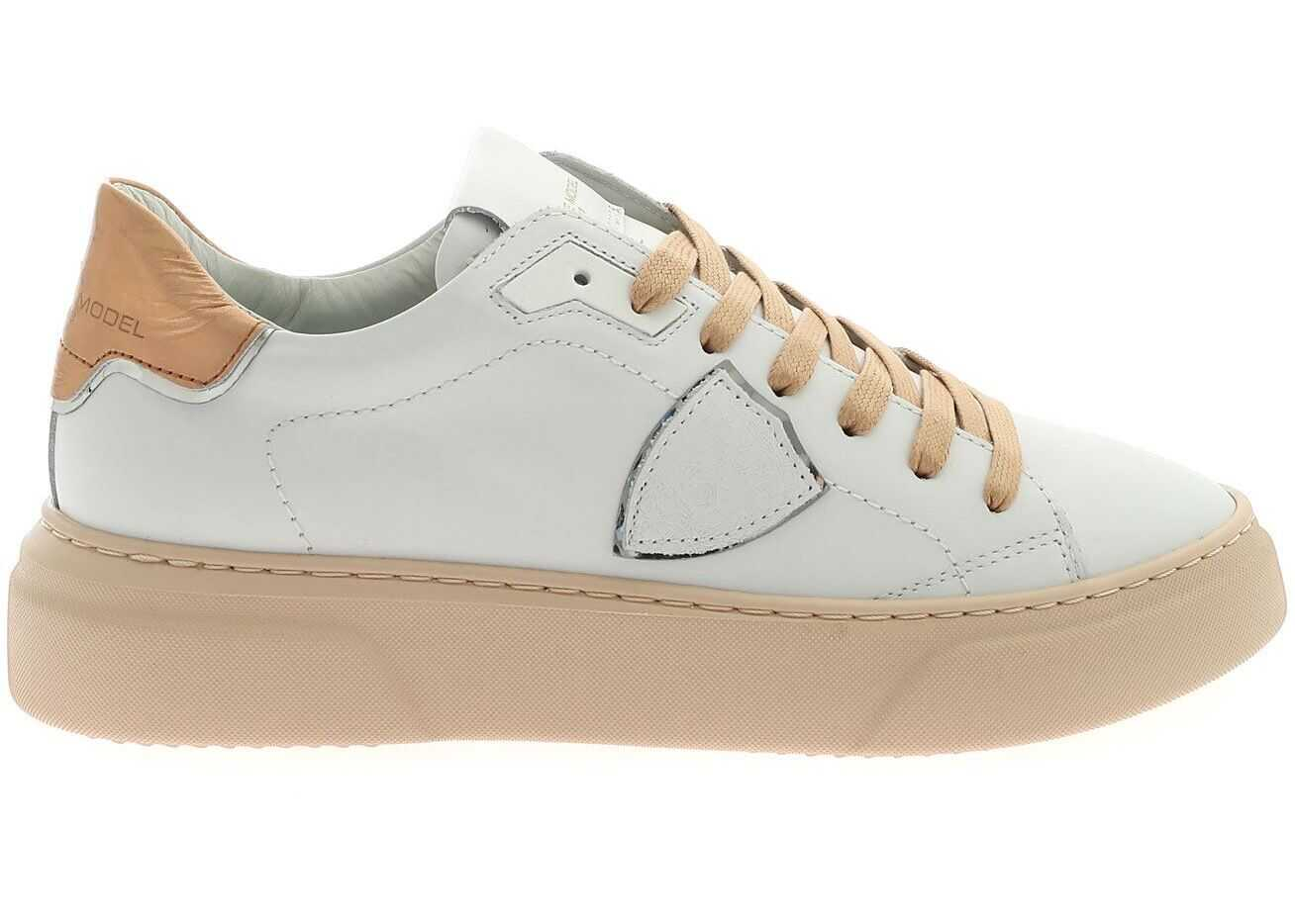 Philippe Model Temple S Sneakers In White And Pink White