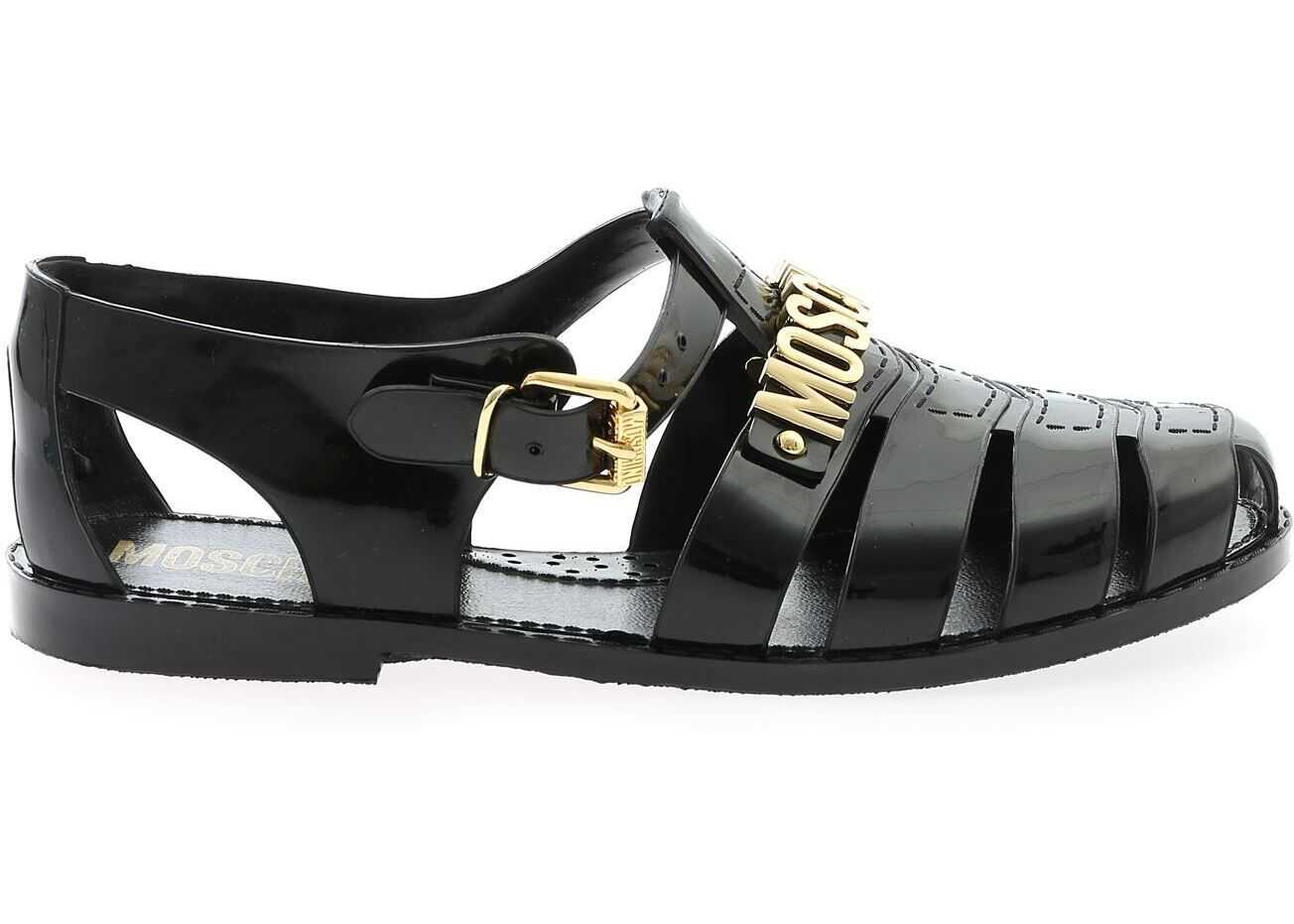 Moschino Jelly Black Sandals With Golden Logo Black