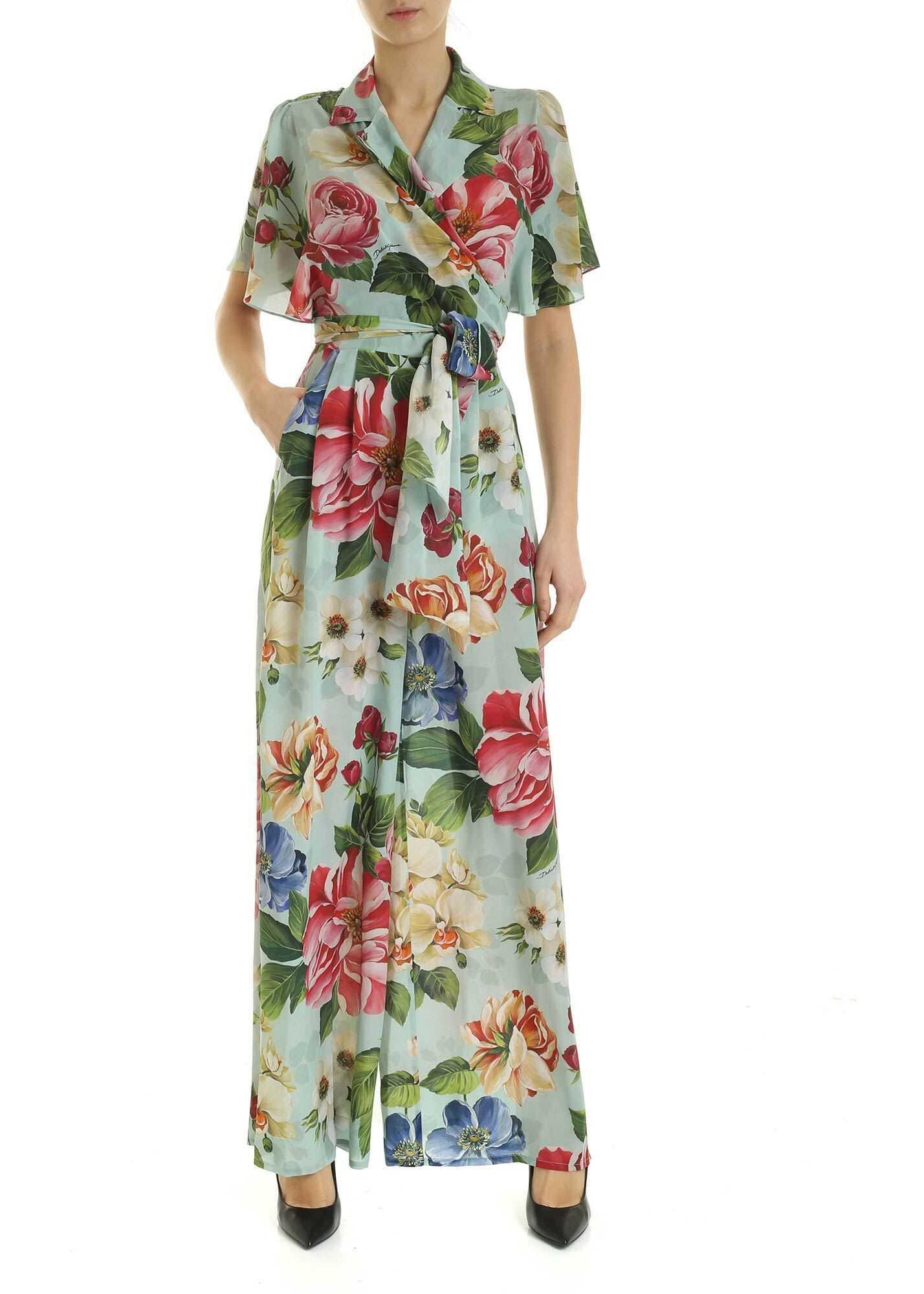 Dolce & Gabbana Flower Print Jumpsuit In Blue Light Blue