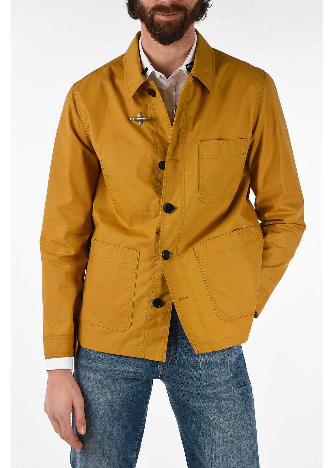 Fay button fastening along front jacket YELLOW