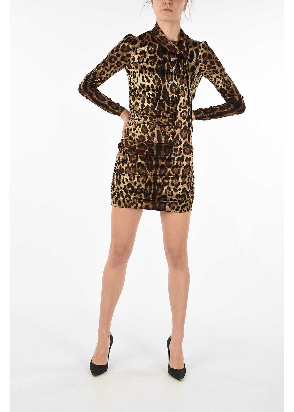 Dolce & Gabbana long sleeve leopard-print sheath dress BROWN