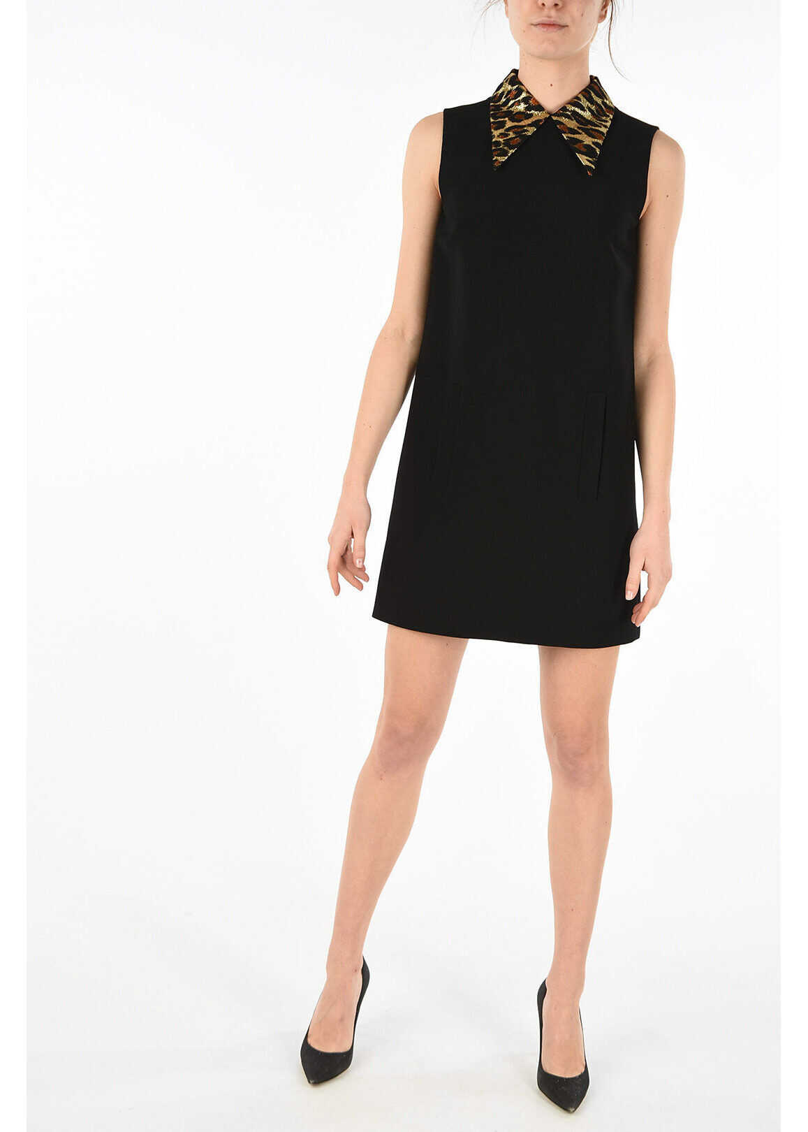 Miu Miu sleeveless a-line dress BLACK