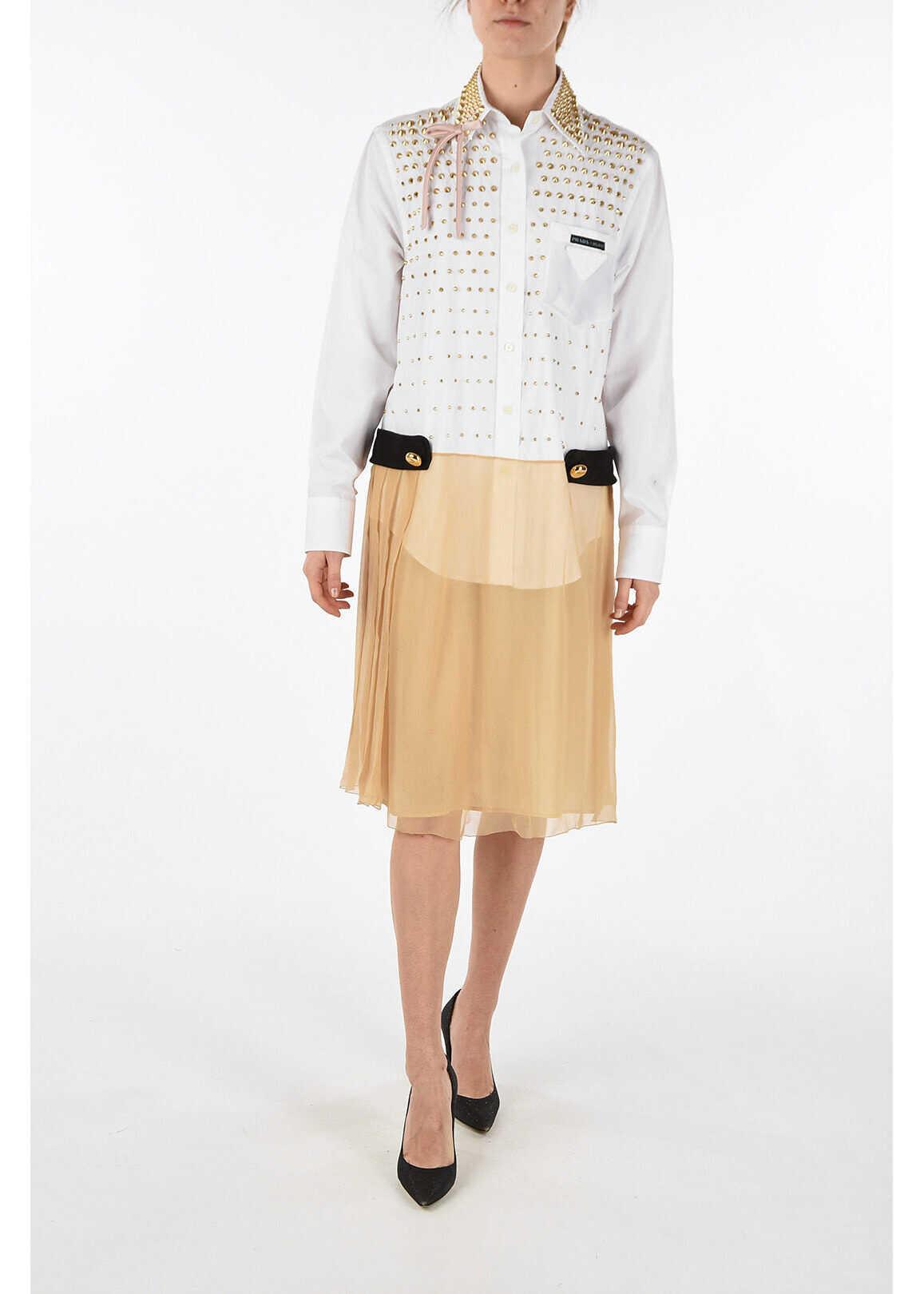 Prada u-shape backline studded shirtdress WHITE
