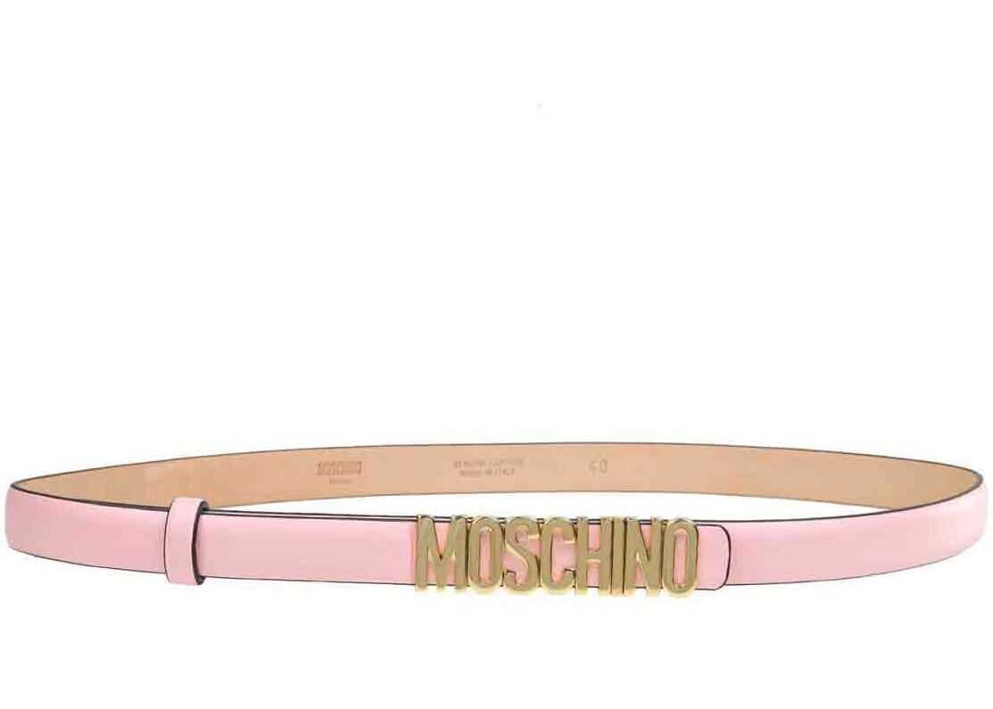 Moschino Lettering Logo Belt In Pink Pink