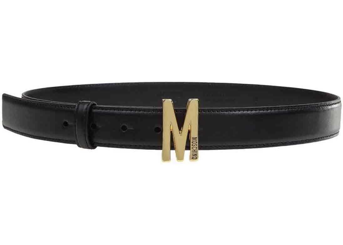 Moschino M Buckle Belt In Black Black