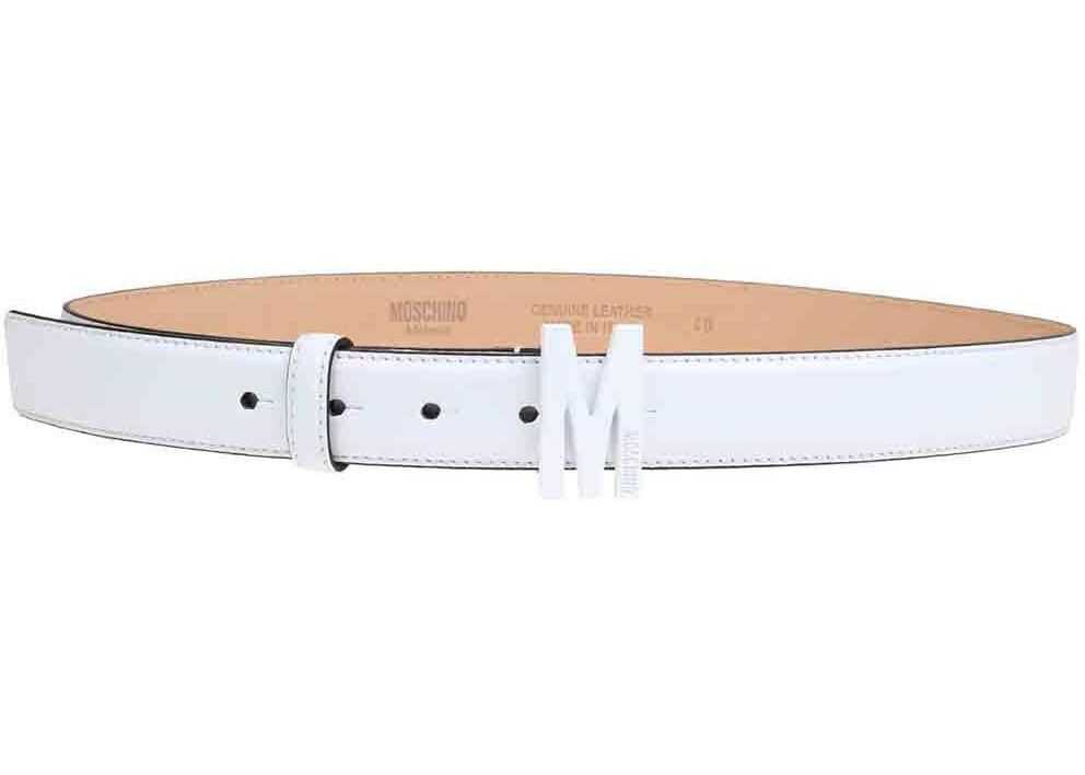 Moschino M Buckle Belt In White White