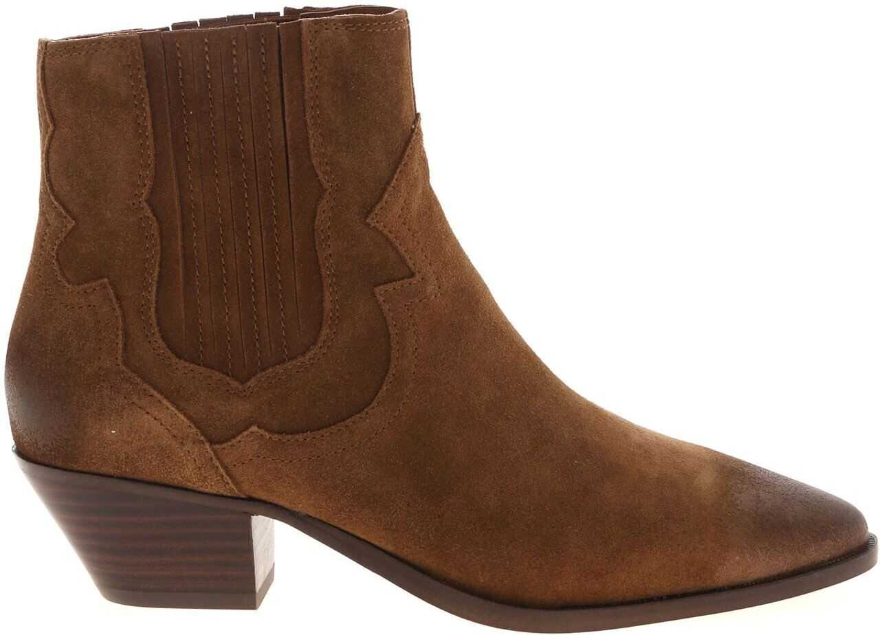 ASH Falcon Vintage-Effect Suede Ankle Boots In Brown Brown