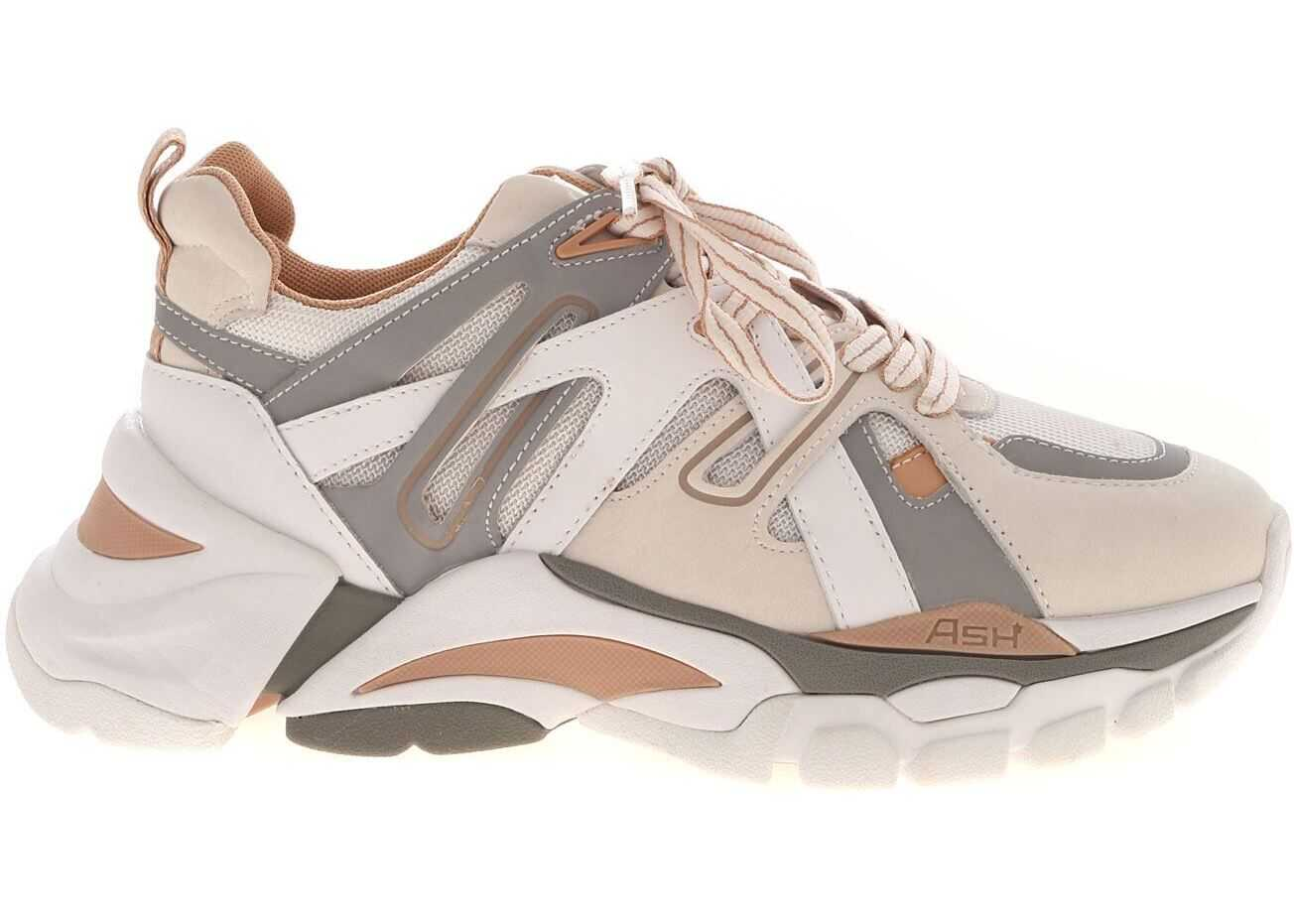 ASH Flash Leather Sneakers In Beige And Grey White