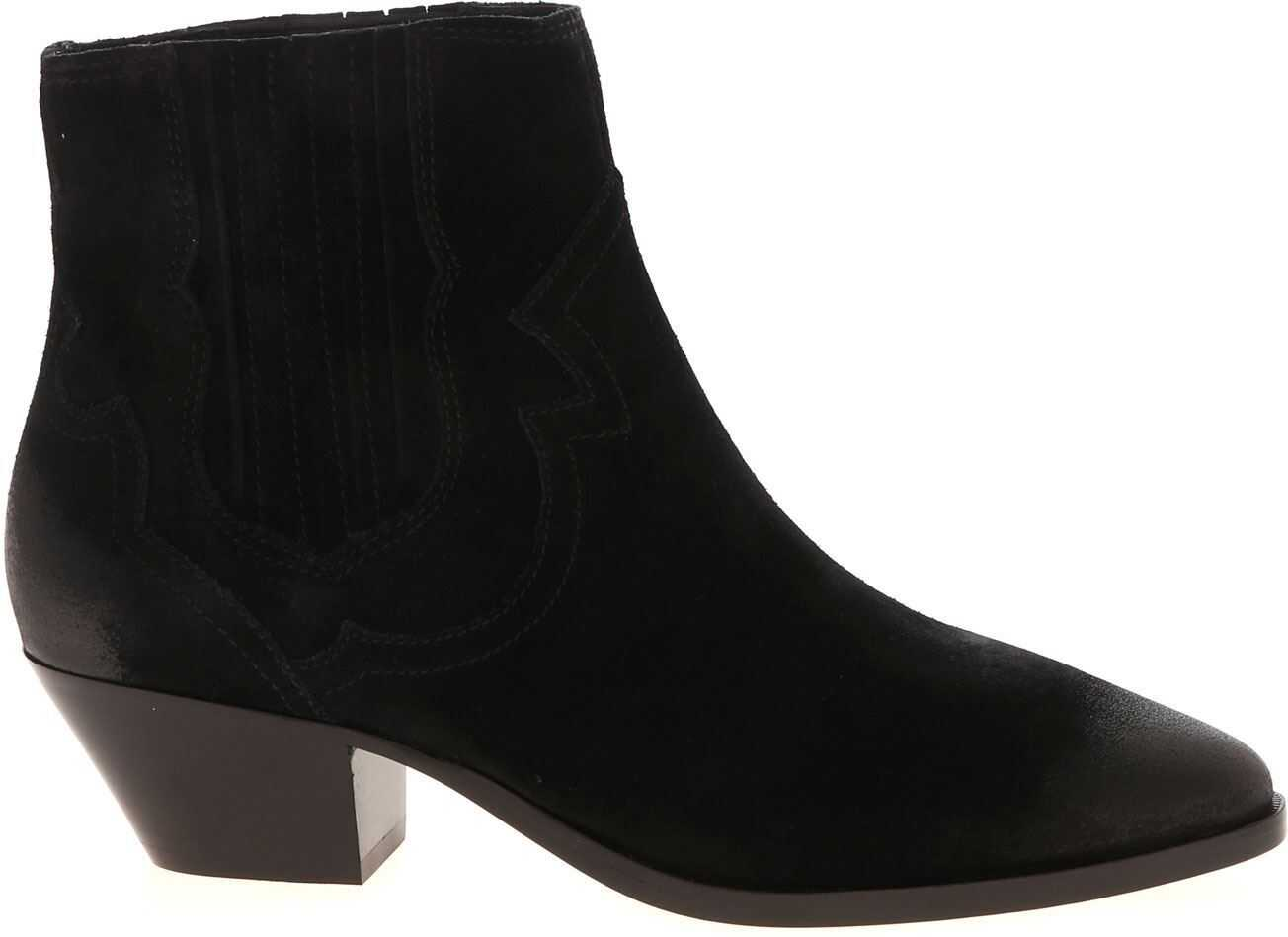 ASH Falcon Suede Ankle Boots In Black Black