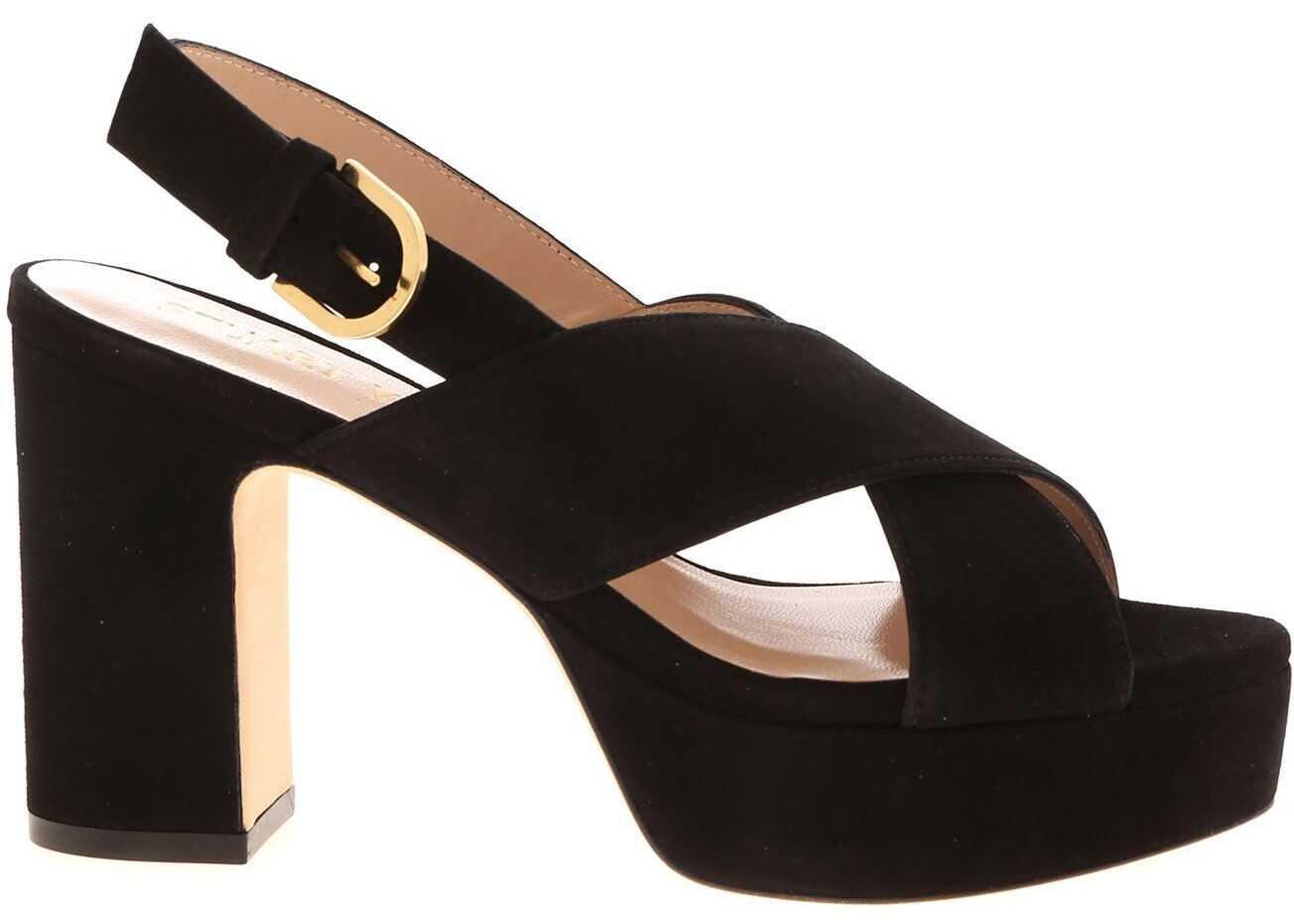 Stuart Weitzman Jerry Suede Sandals In Black Black