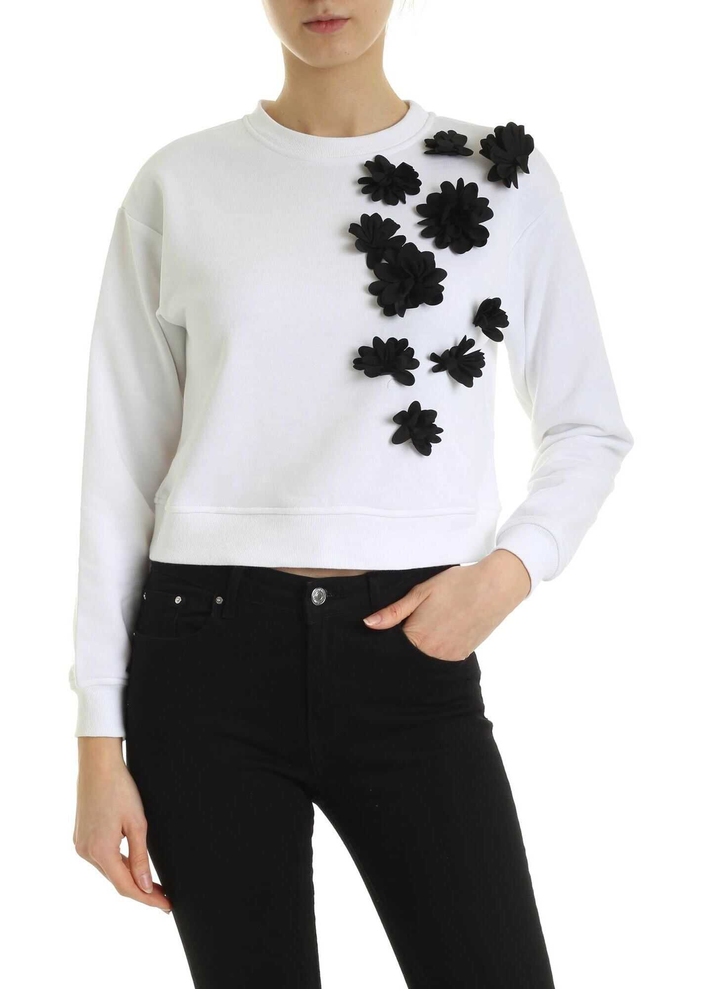 Be Blumarine Sweatshirt In White With Black Floral Details White