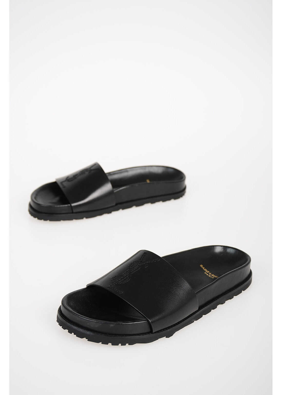 Leather Slides JIMMY with Embroidered Logo thumbnail