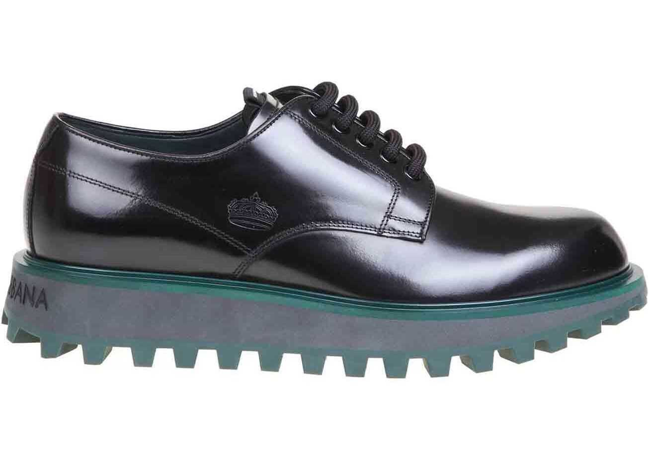 Derby Shoes In Black With Petrol-Colored Sole thumbnail