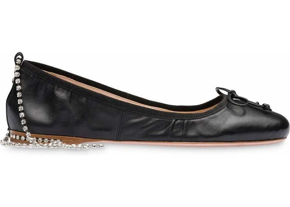 Miu Miu Leather Flats BLACK
