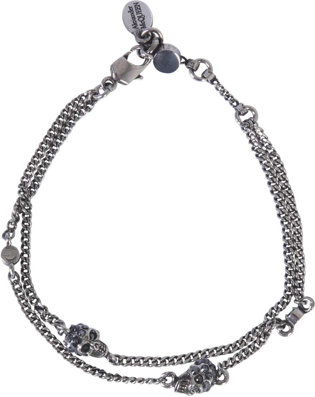 Alexander McQueen Skull Bracelet With Double Chain SILVER