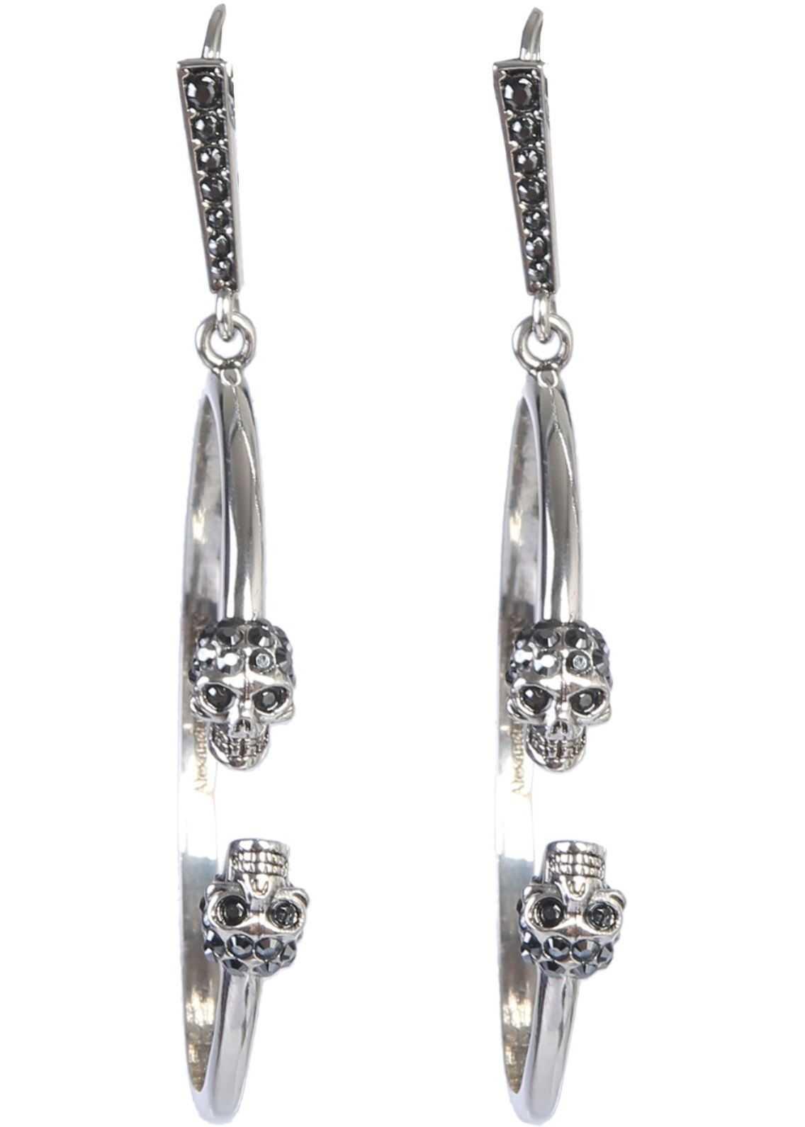 Alexander McQueen Skull Creole Earrings SILVER