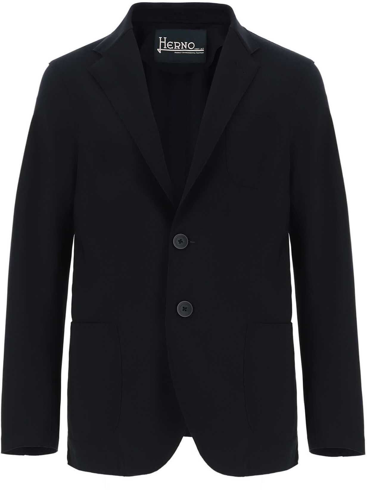 Herno Stretch Technical Fabric Jacket In Blue Blue imagine