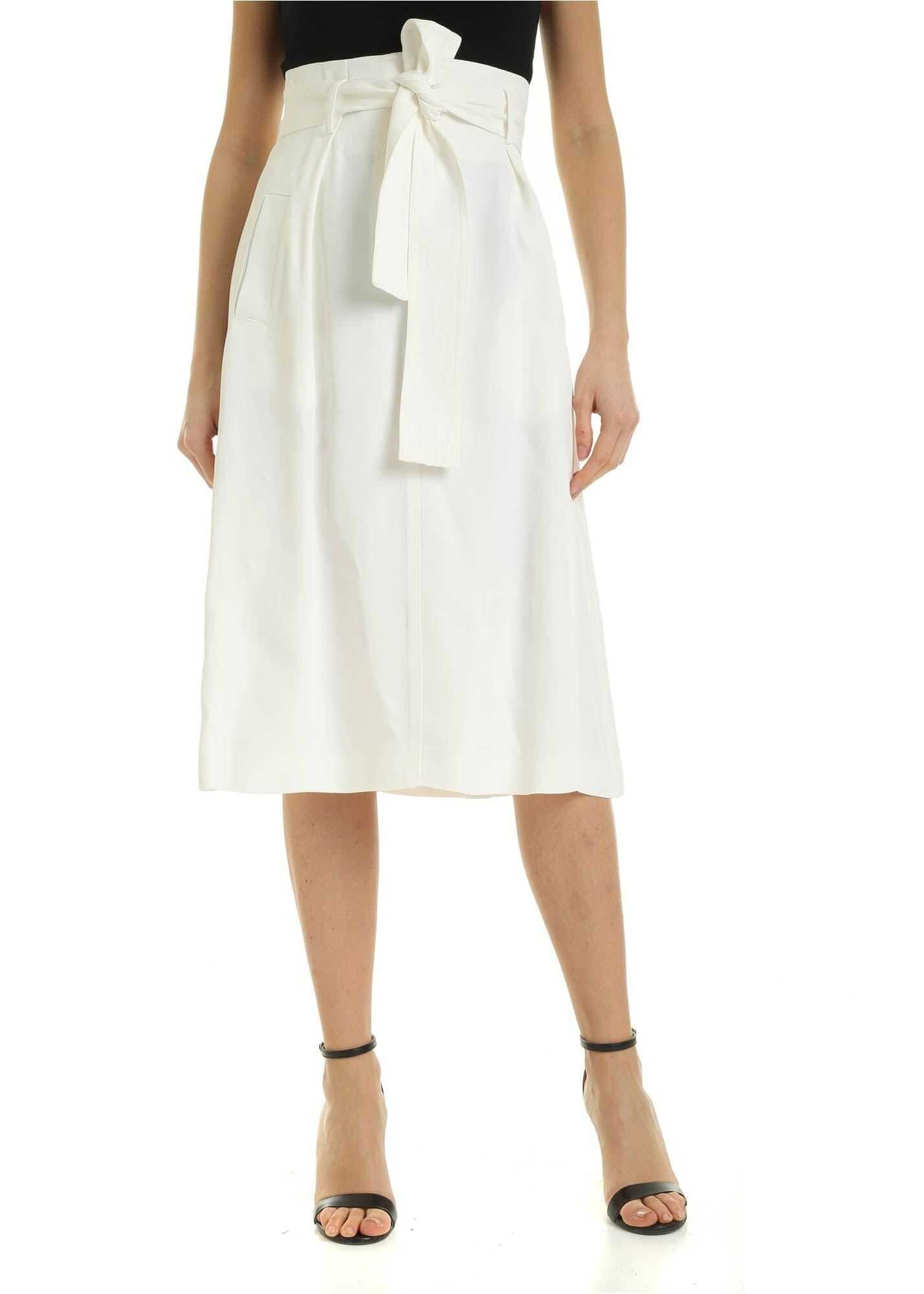 Elisabetta Franchi Belt Midi Skirt In Ivory Color White