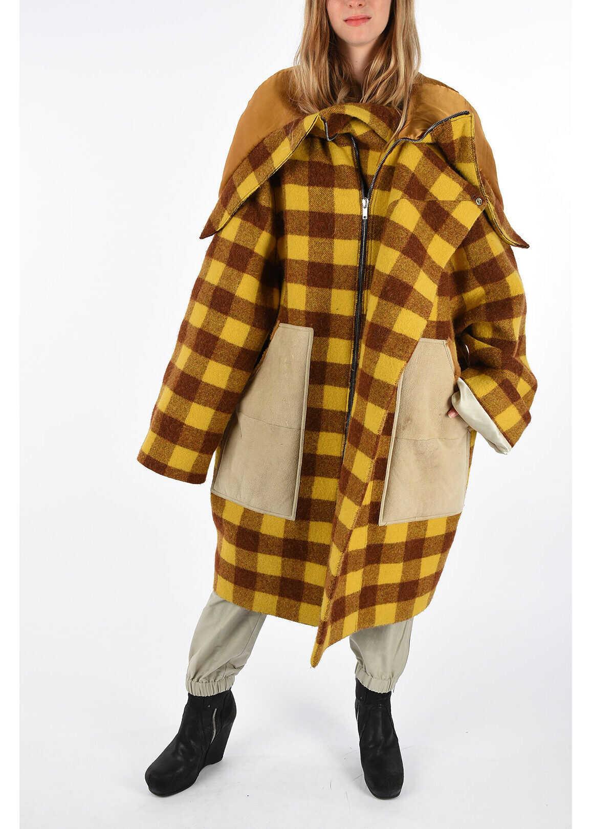 Rick Owens Virgin Wool Blend SECRET Coat RAISIN PLAID YELLOW