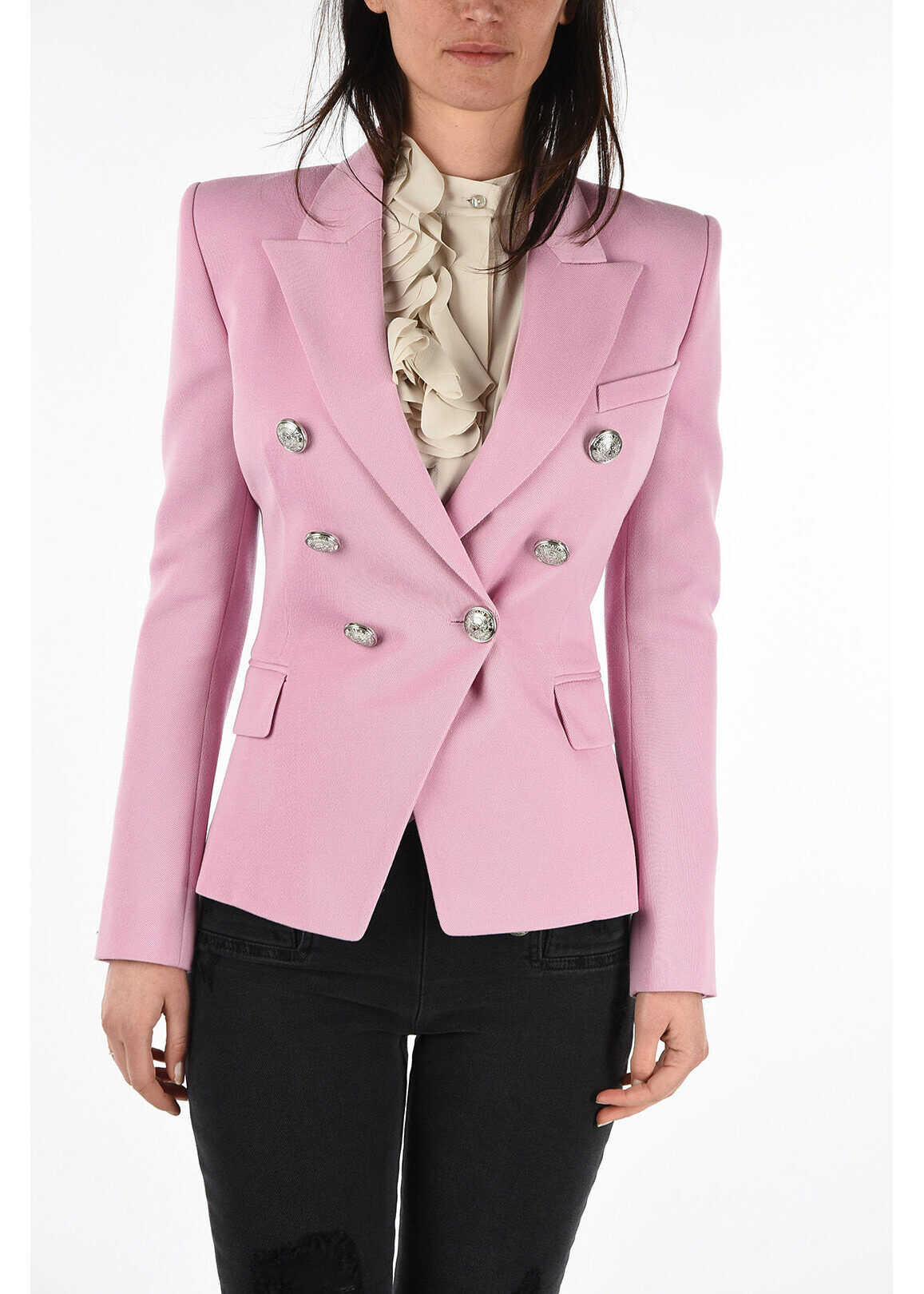 Balmain virgin wool no vent double-breasted blazer PINK