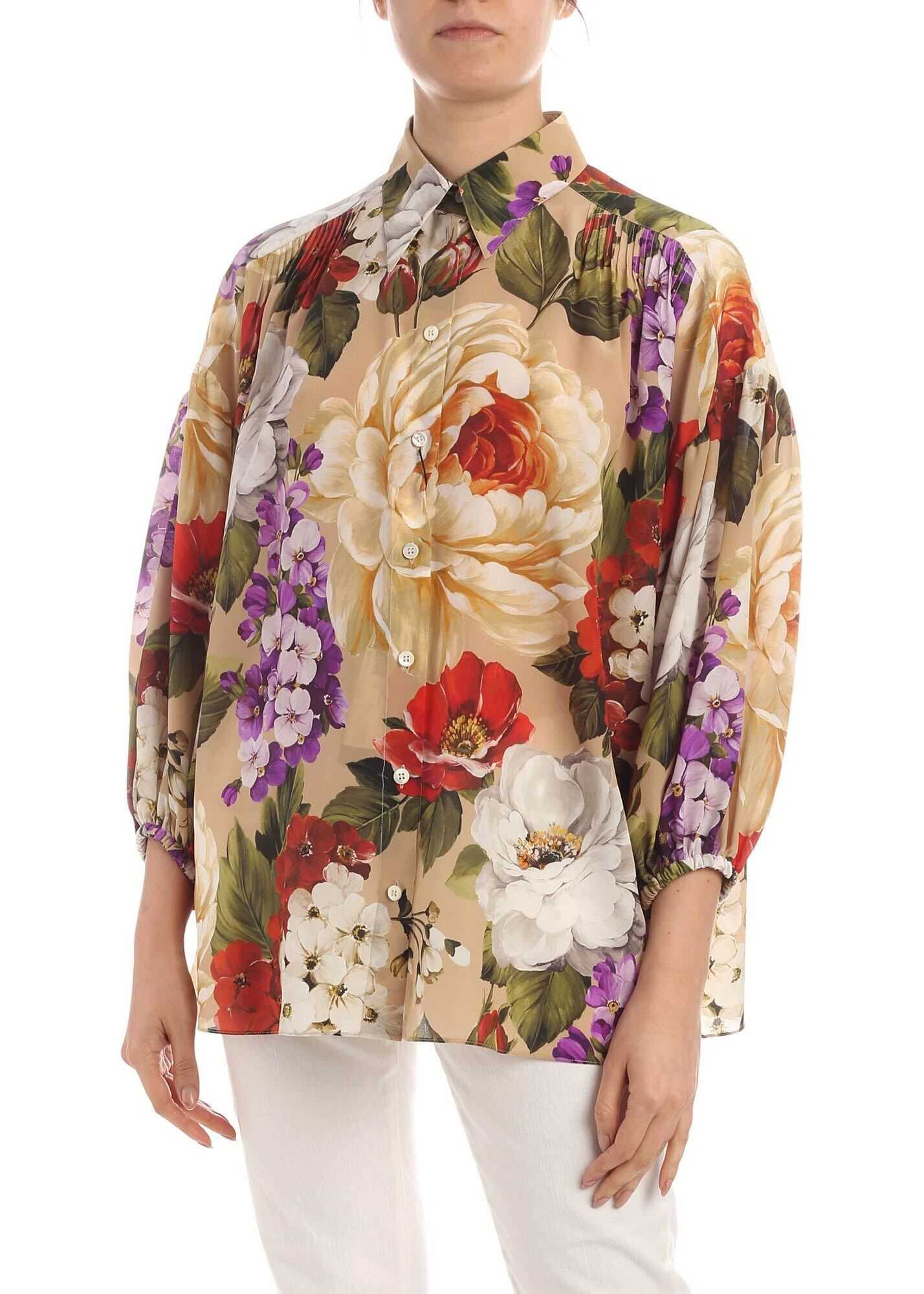 Dolce & Gabbana Flower Print Shirt In Beige Beige