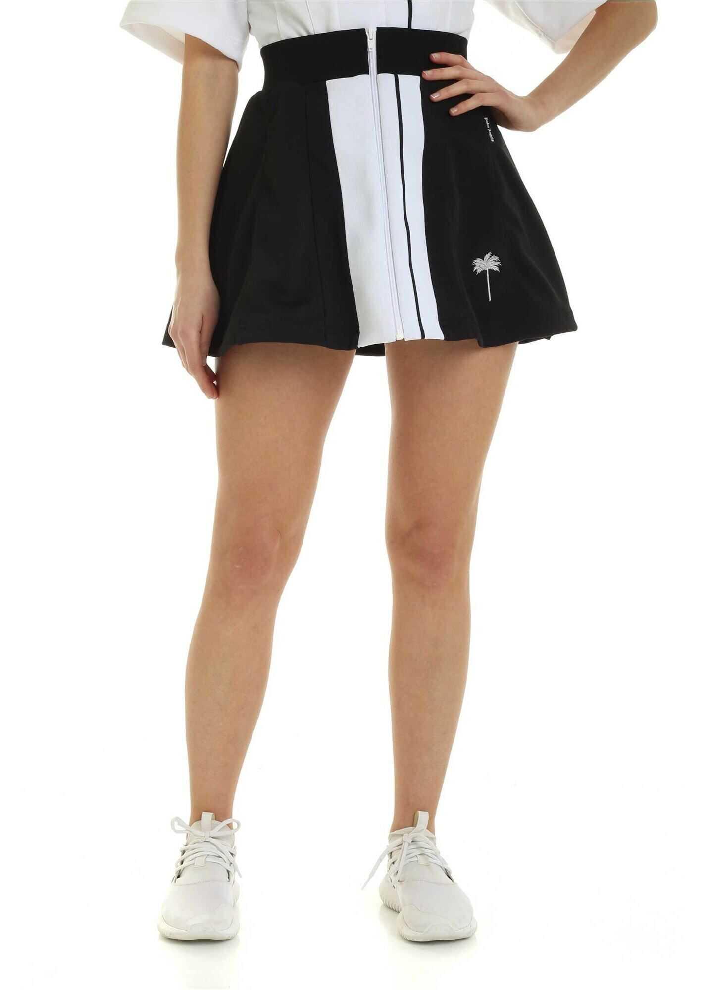 Palm Angels Tennis Track Mini Skirt In Black Black