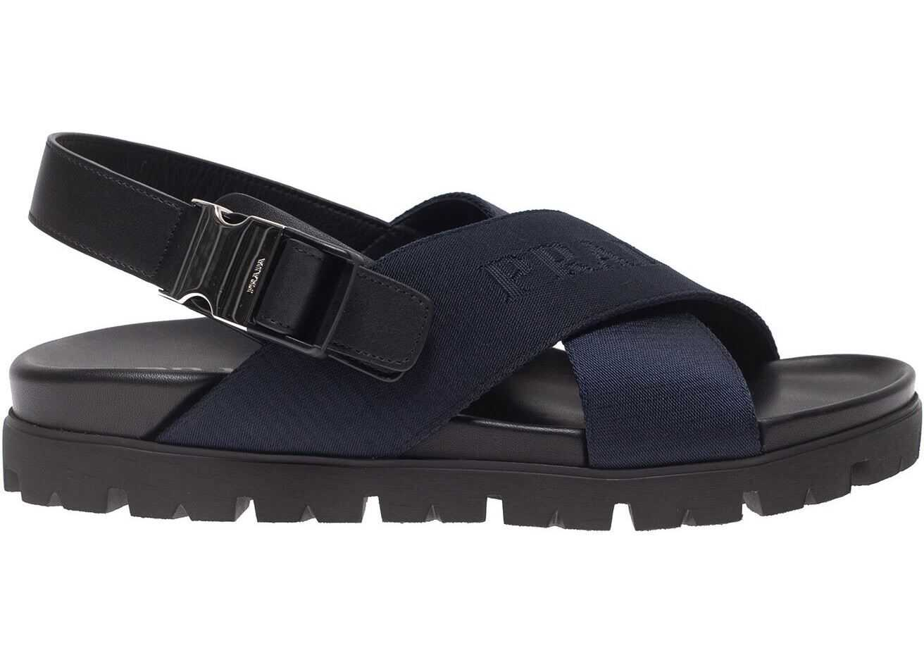 Prada Sandals In Blue With Crossed Band Blue