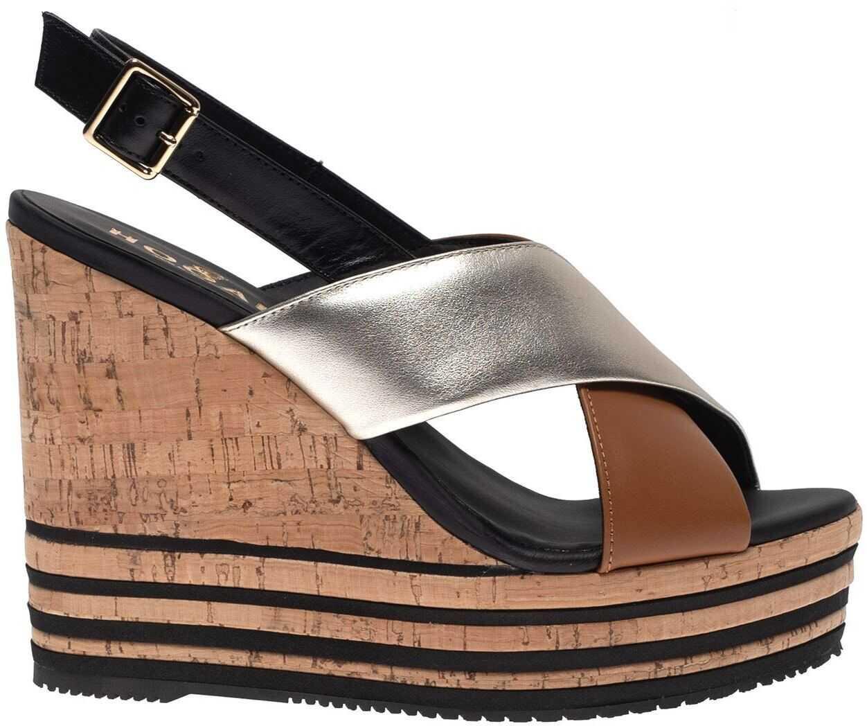 Hogan Wedge Sandals In Black, Beige And Silver Multi