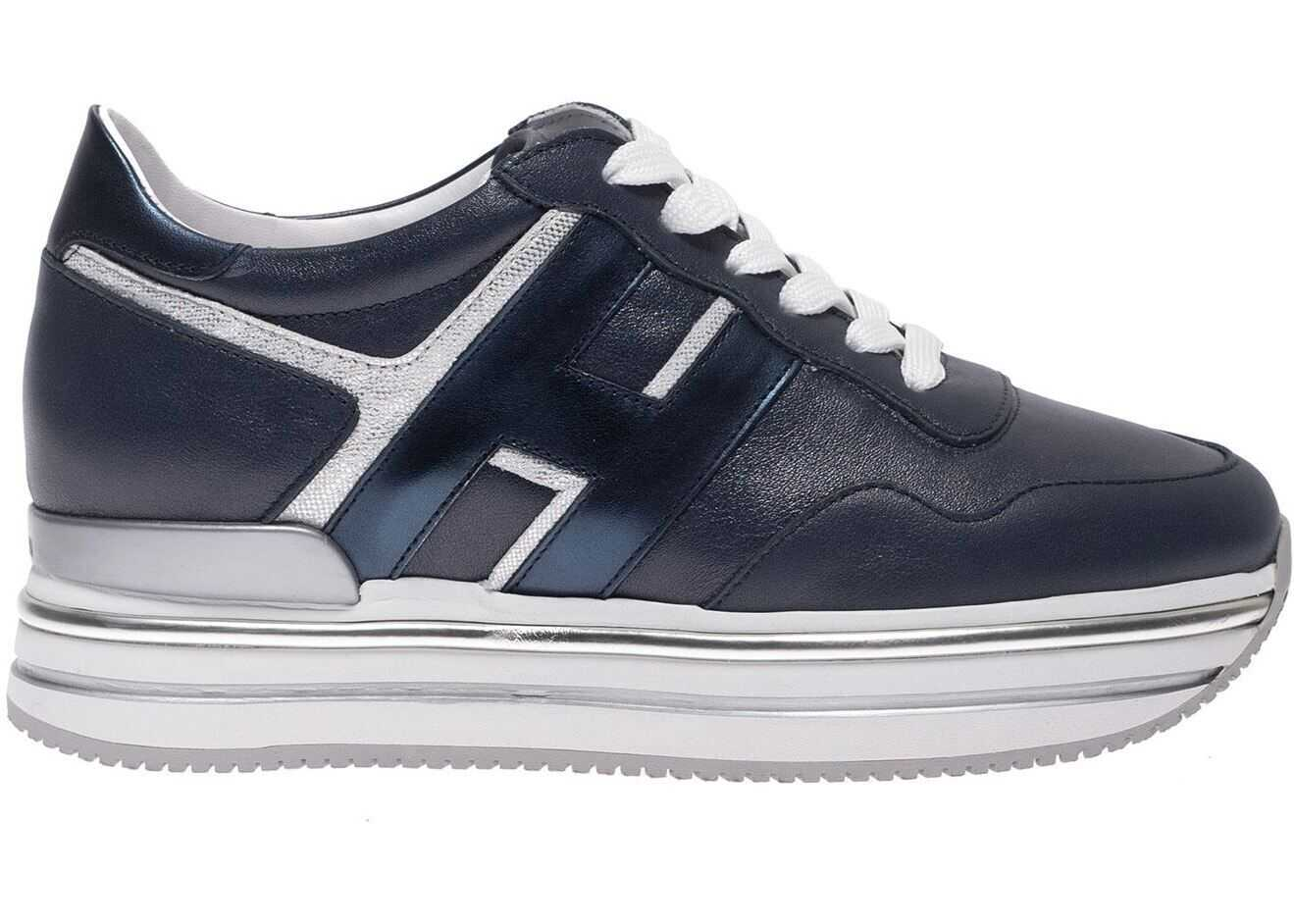 Hogan H468 Sneakers In Blue And Silver Blue