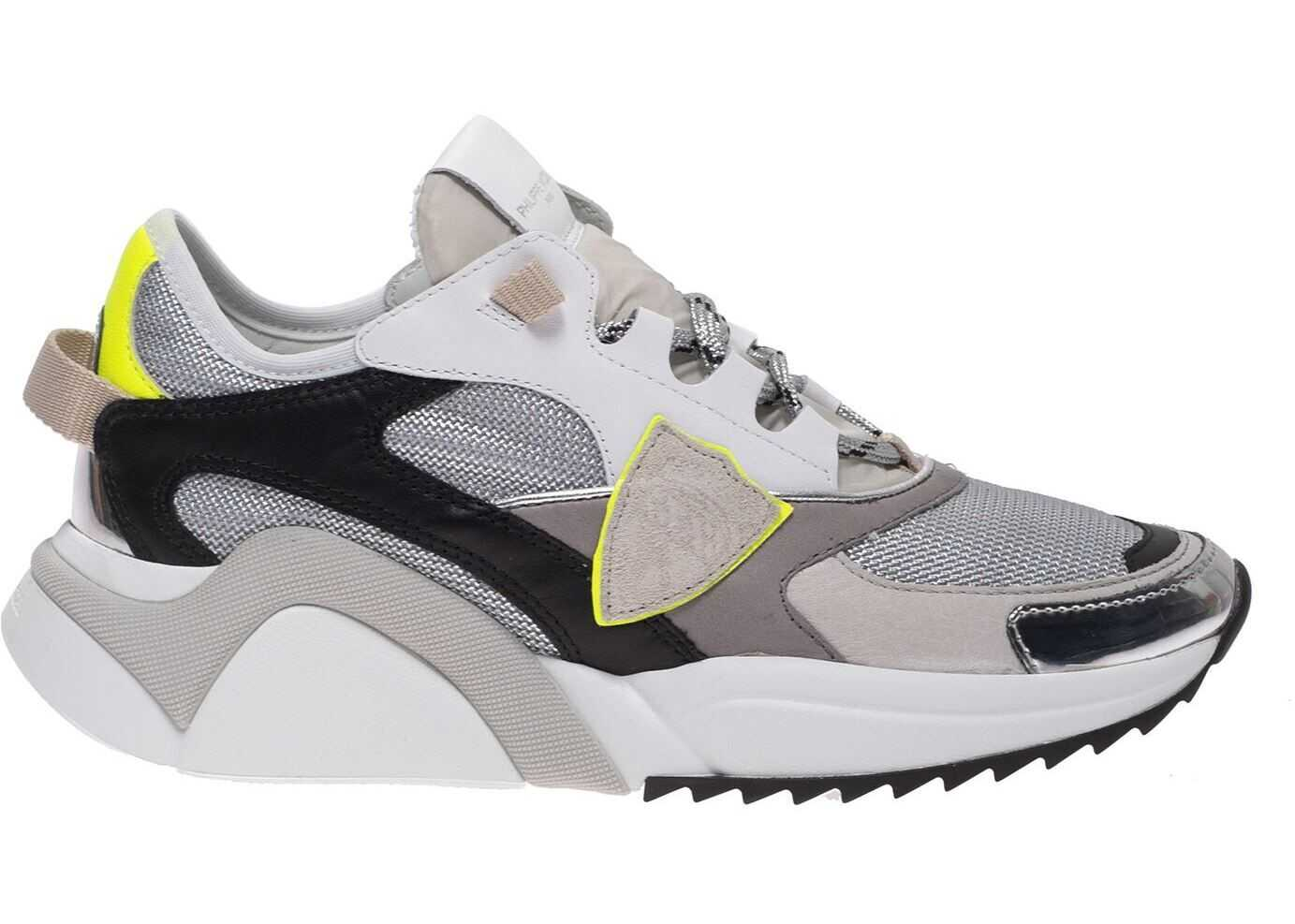 Philippe Model Eze Sneakers In Gray With Fluo Details Grey