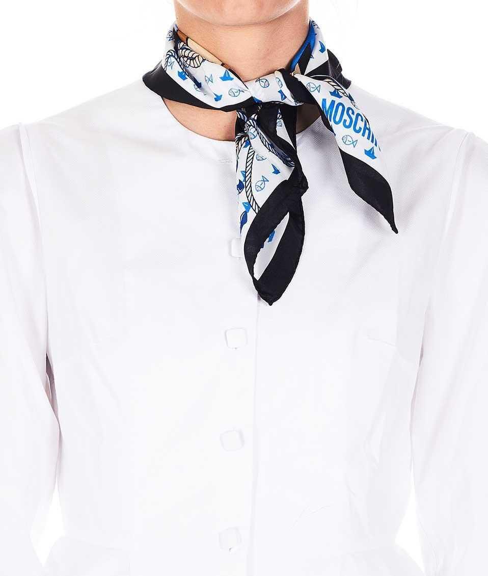 Moschino Printed silk scarf Black
