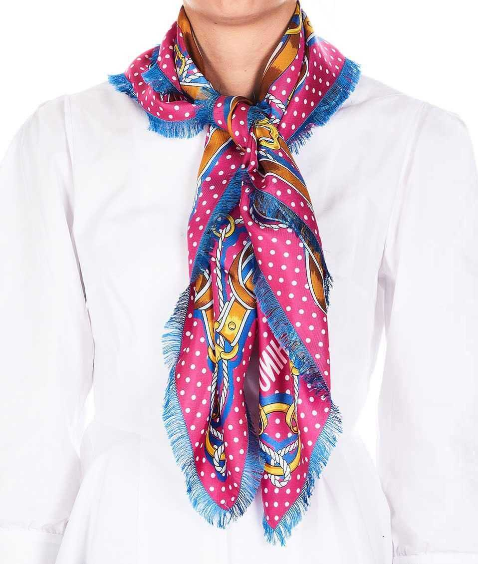 Moschino Silk scarf with frayed hem Pink