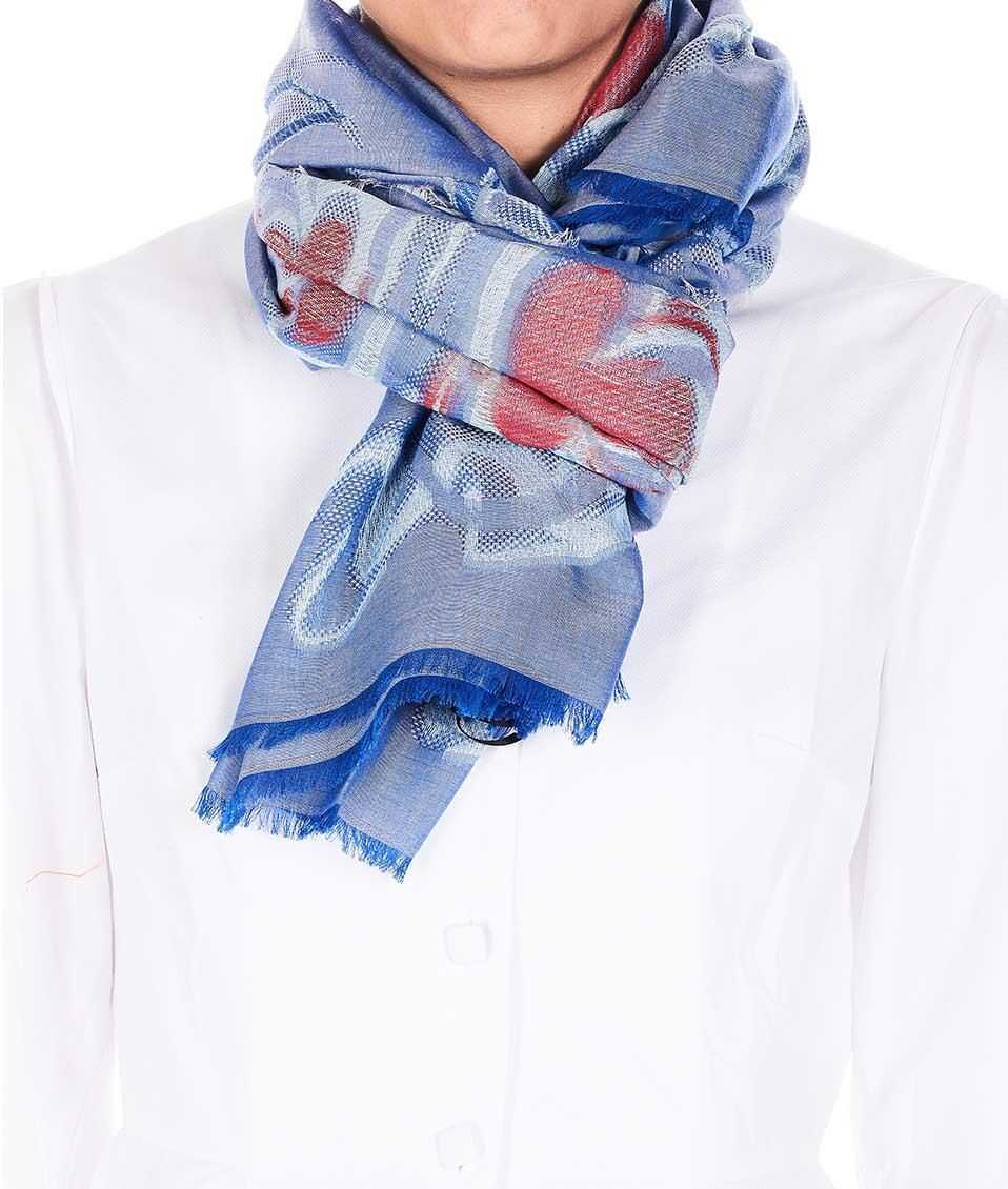 Moschino Embroidered scarf Blue