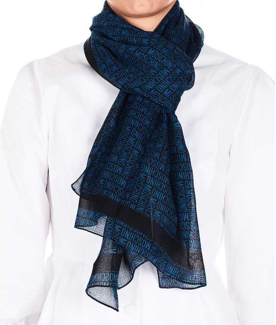 Moschino Scarf with logo type Blue