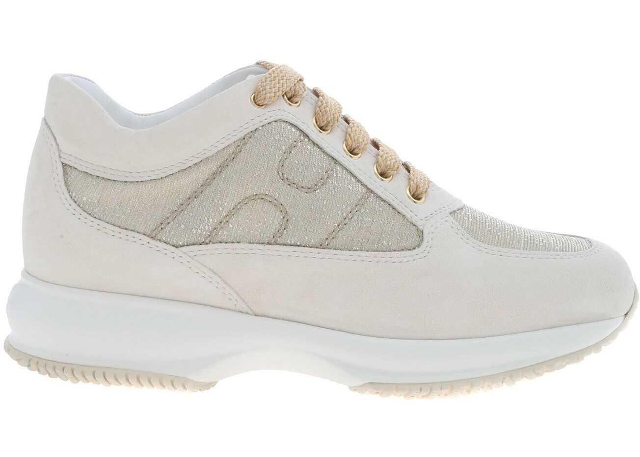 Hogan Interactive Sneakers In Cream Color White