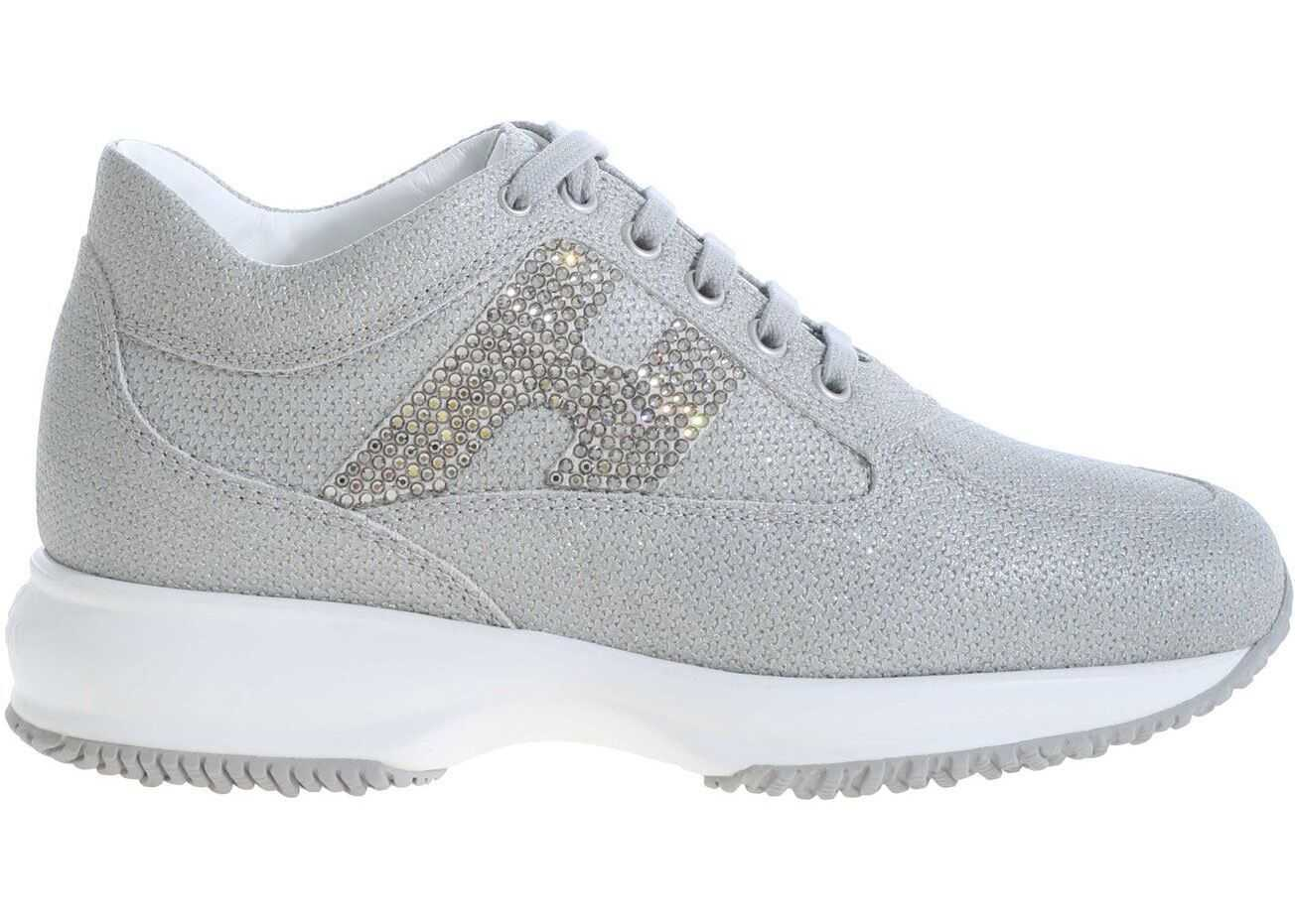 Hogan Interactive Grey Sneakers With Rhinestone Logo Grey