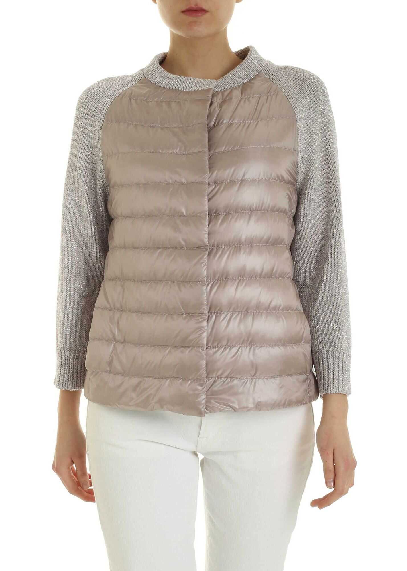 Herno Lamé Knit Detail Down Jacket In Pink Pink