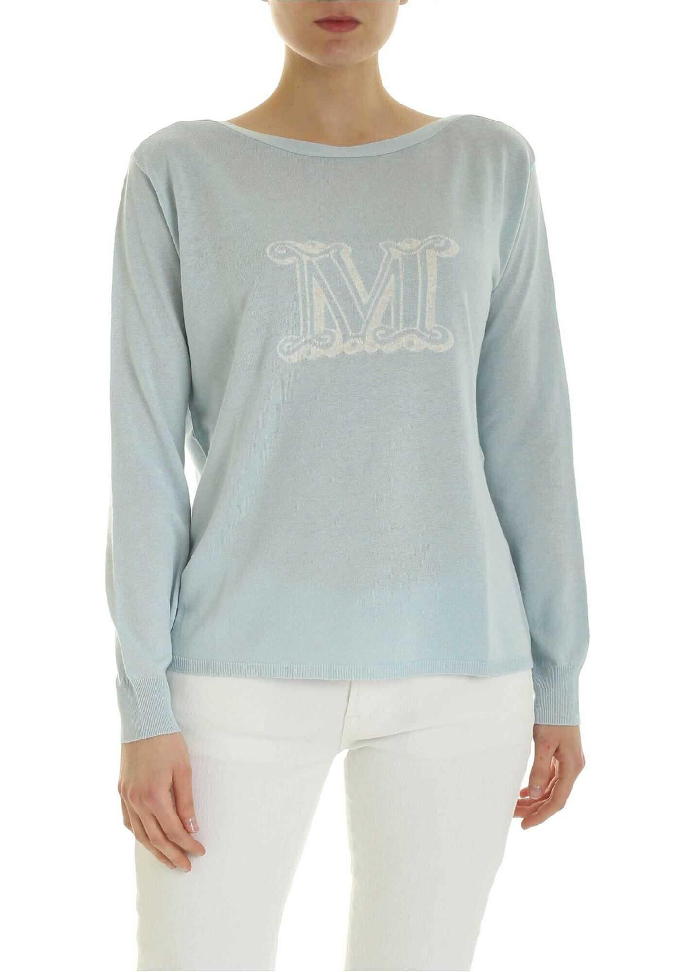 Max Mara Salice Sweater In Light Blue With Logo Light Blue