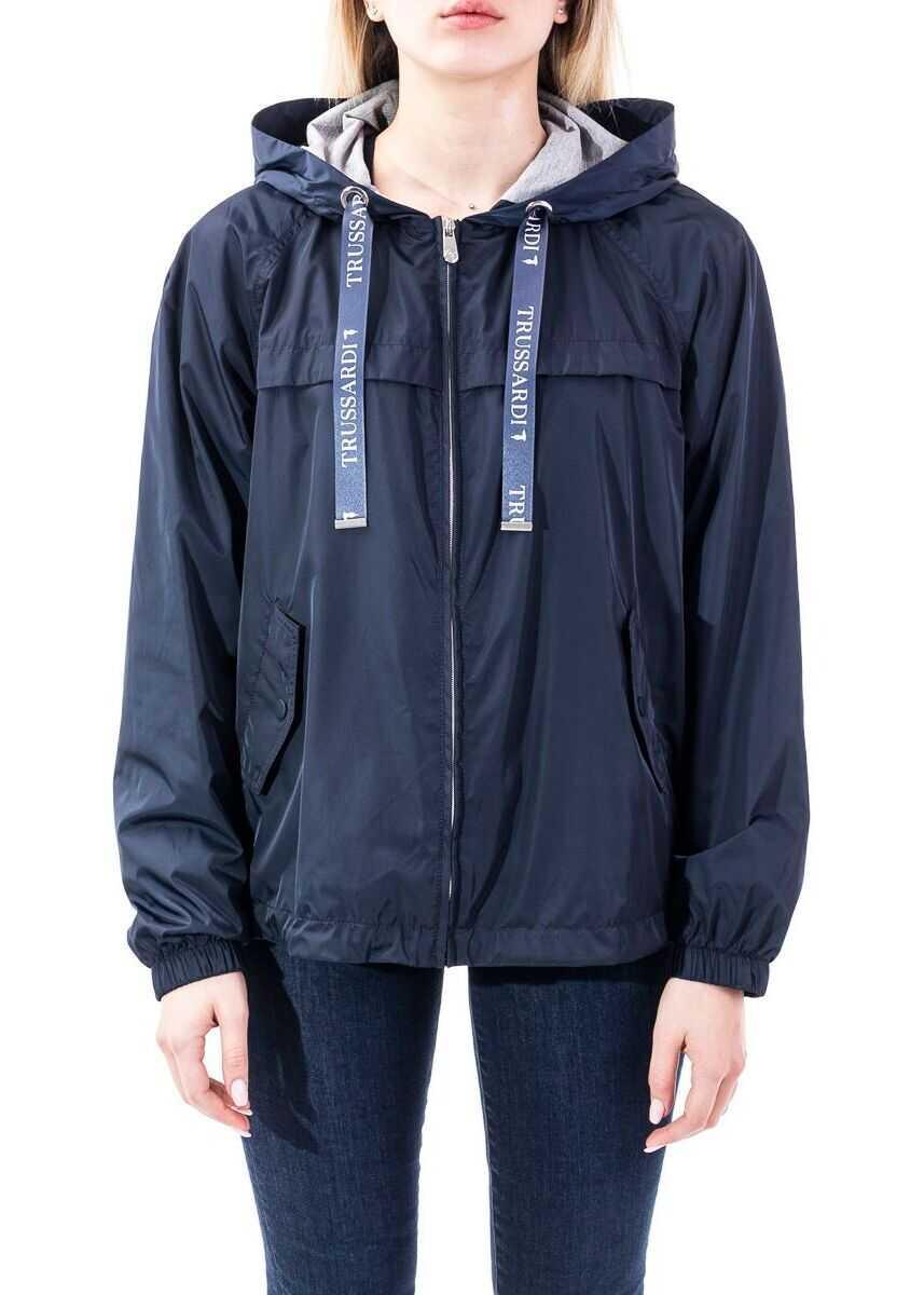 Trussardi Polyester Outerwear Jacket BLUE