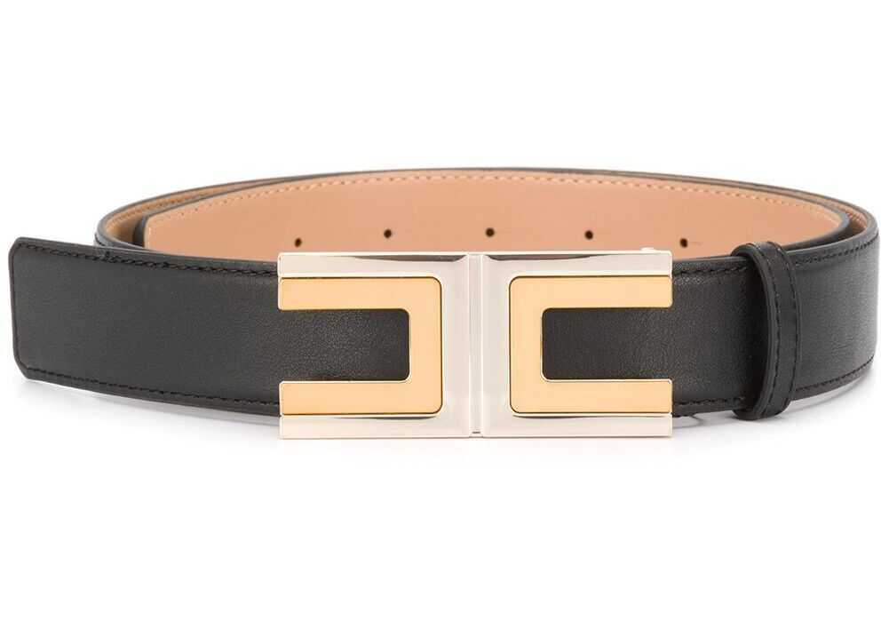 Elisabetta Franchi Faux Leather Belt BLACK
