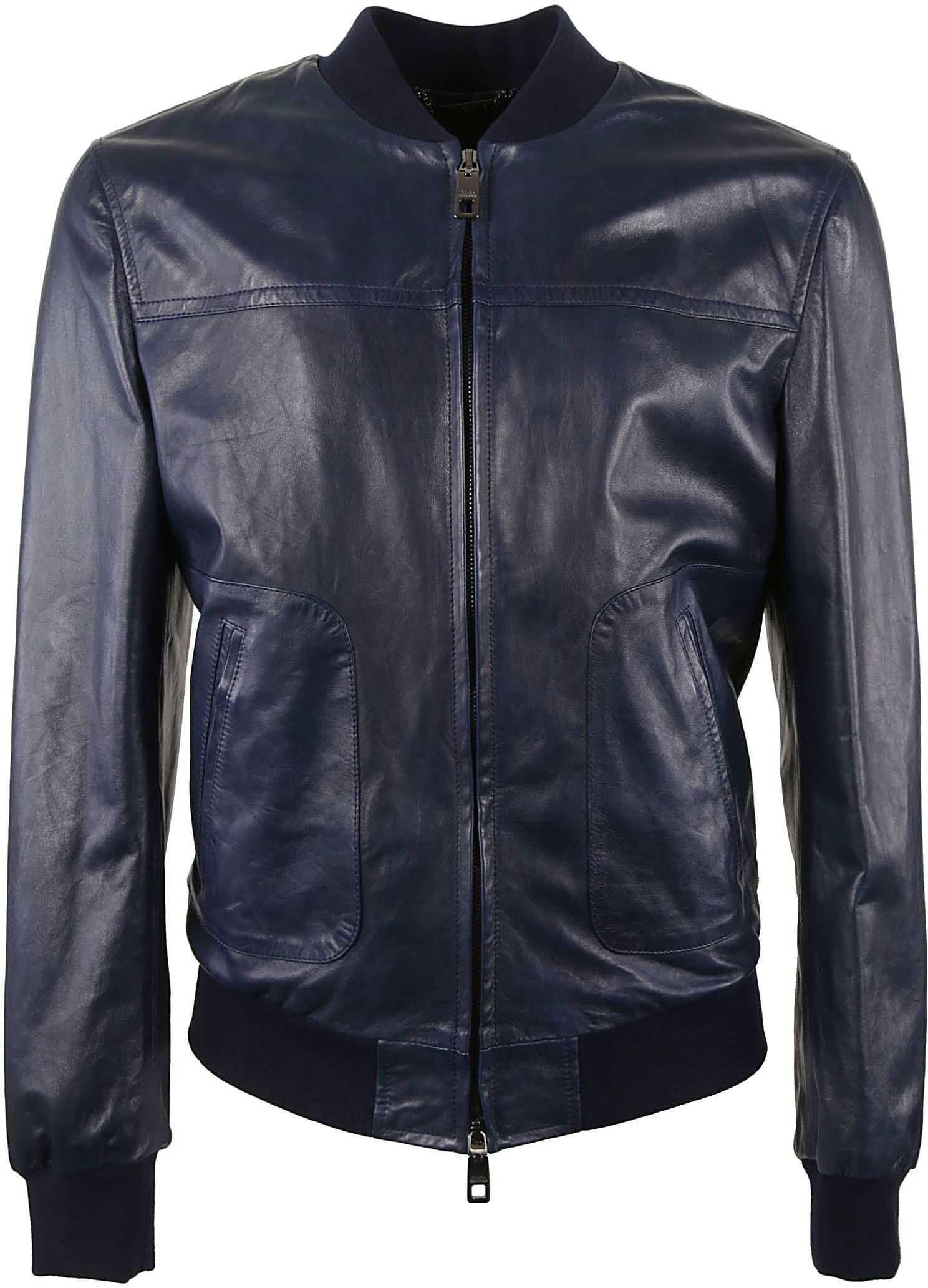 Dolce & Gabbana Leather Outerwear Jacket BLUE