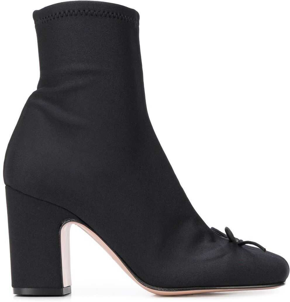 RED VALENTINO Polyester Ankle Boots BLACK