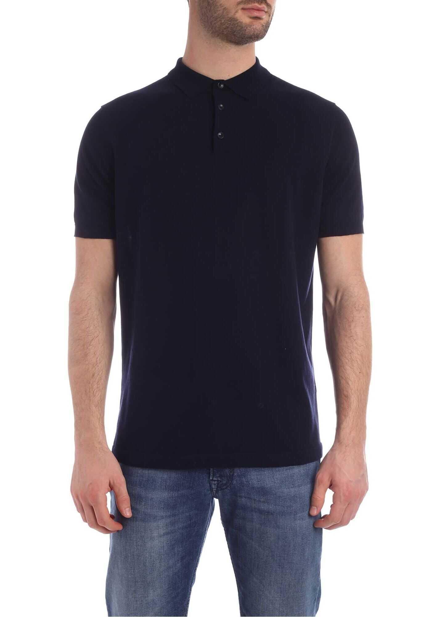 Kangra Cashmere Short Sleeve Polo Shirt In Blue Blue imagine