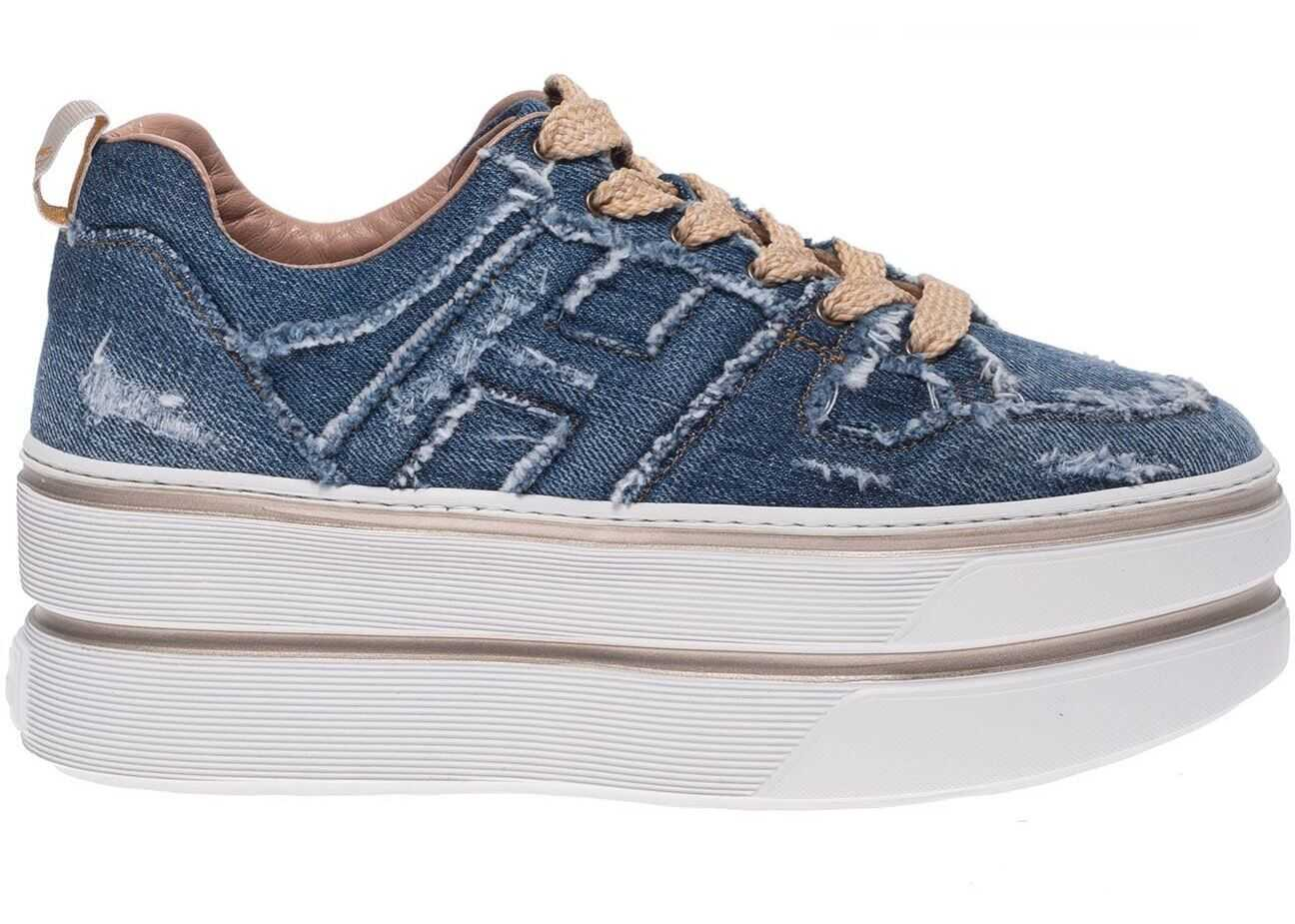 Hogan H449 Maxi Sneakers In Blue Jeans Color Blue