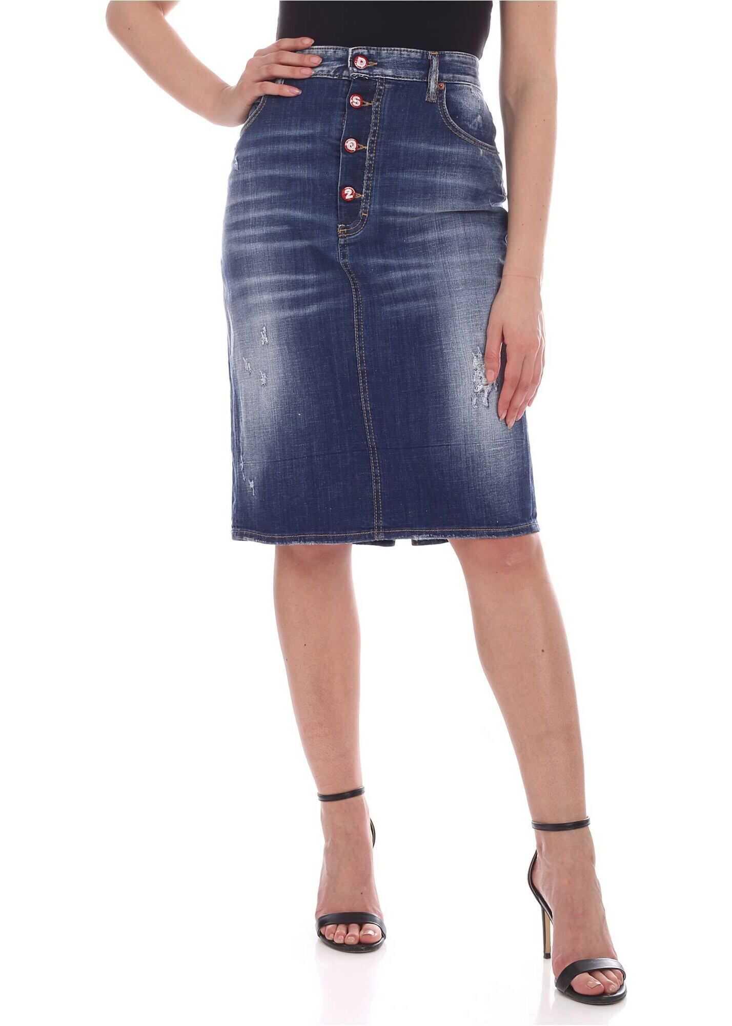 Simple Medium Dalma Midi Skirt In Blue thumbnail