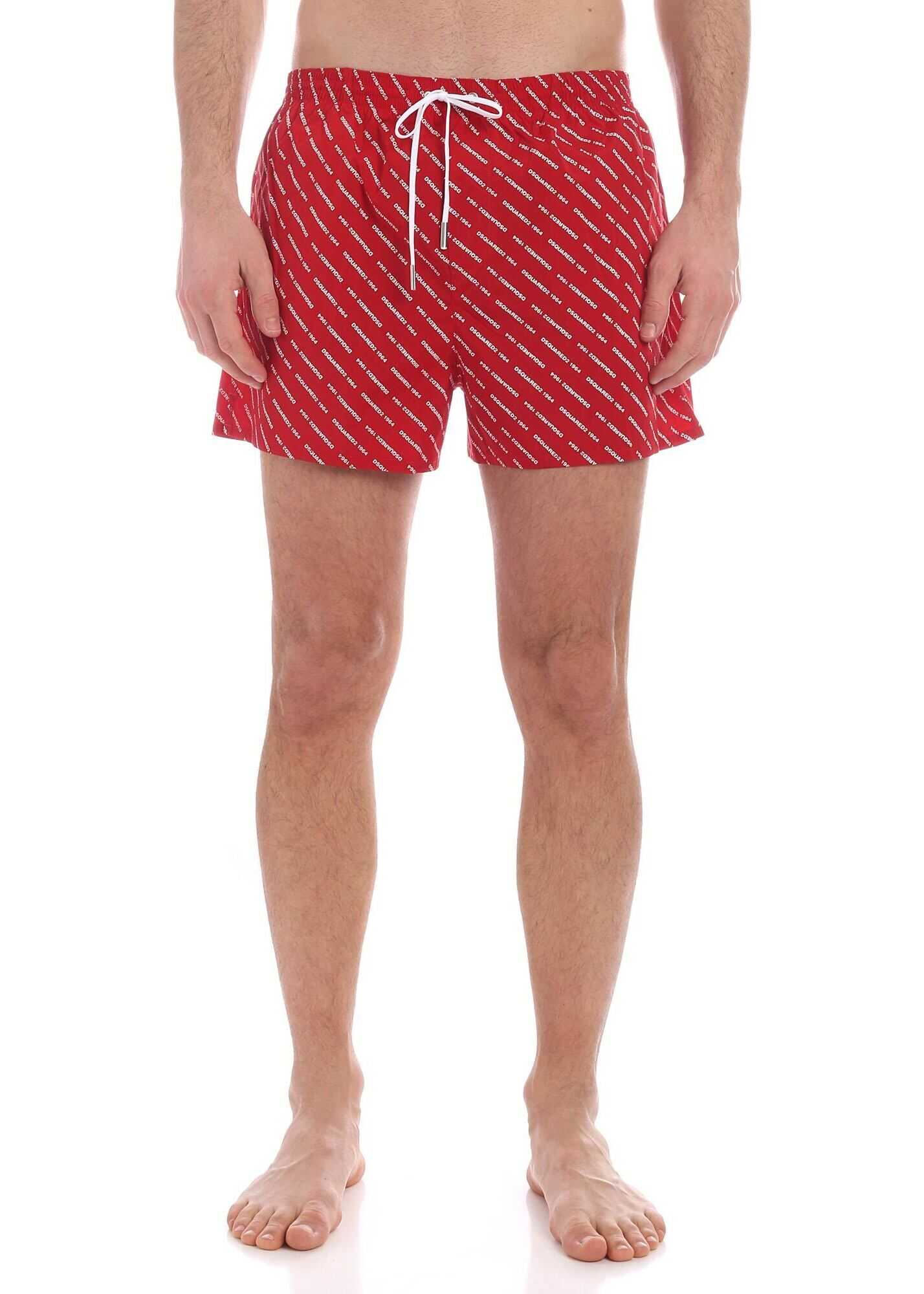 DSQUARED2 All Over Logo Swim Trunks In Red Red