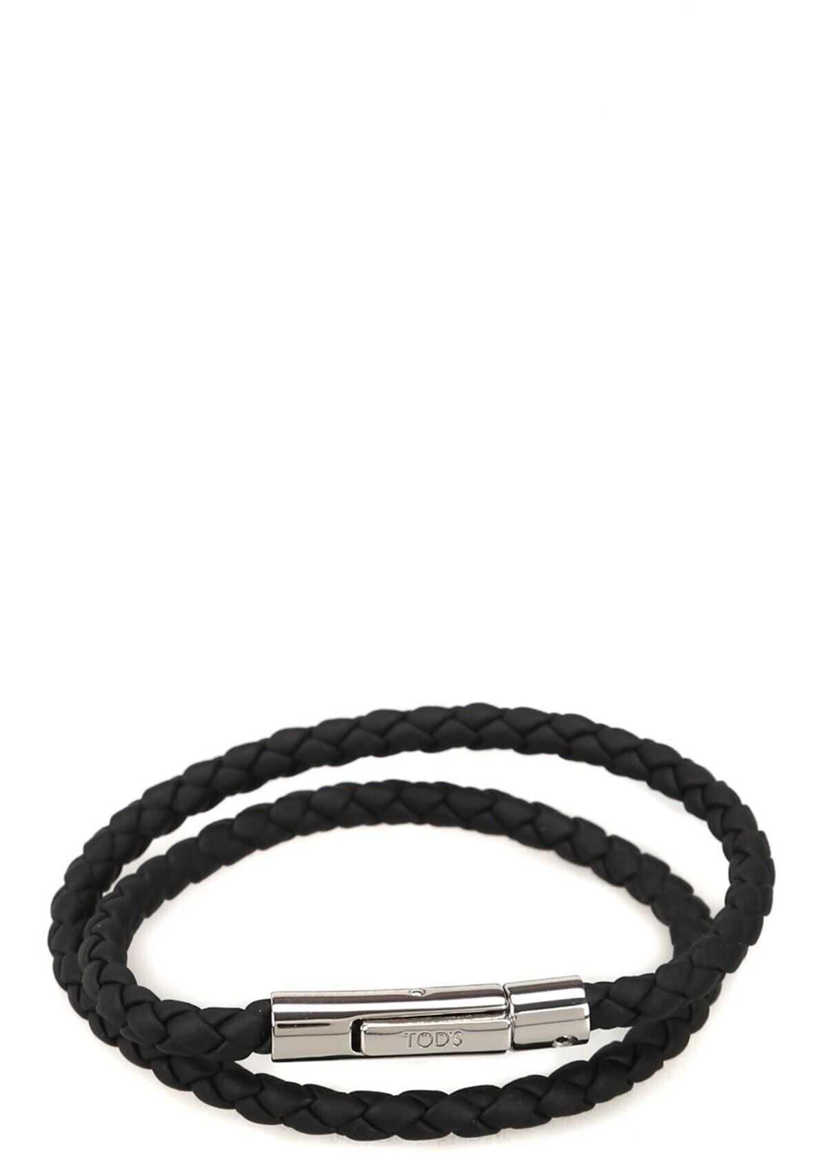 TOD'S Mycolors Black Leather Bracelet Black