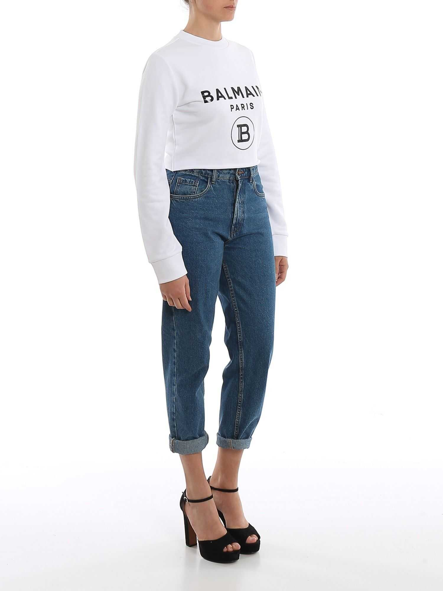 Balmain White Cotton Cropped Sweatshirt White