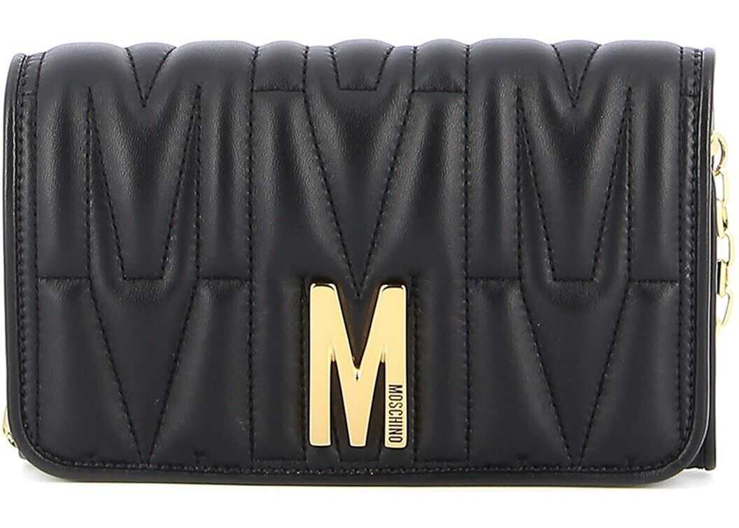 Moschino M Logo Black Quilted Leather Wallet Black