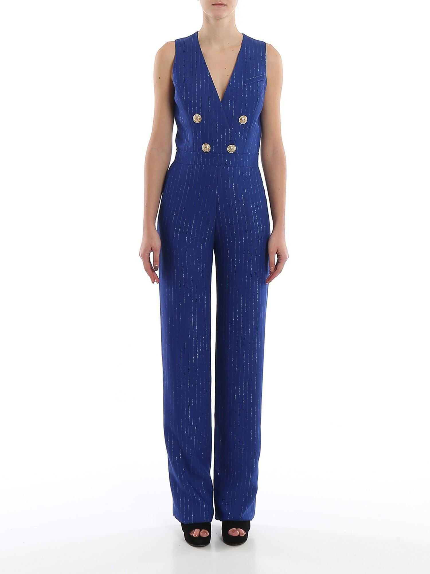 Balmain Gold-Tone Button Striped Jumpsuit Blue